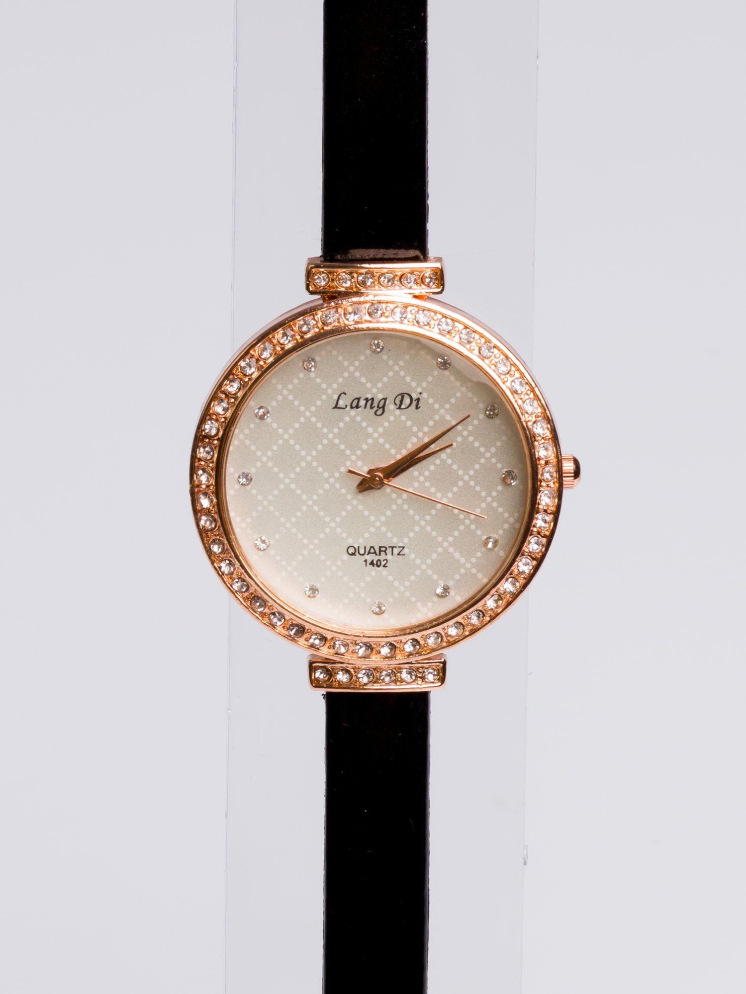Złoty elegancki i delikatny zegarek damski z cyrkoniami                                  zdj.                                  3