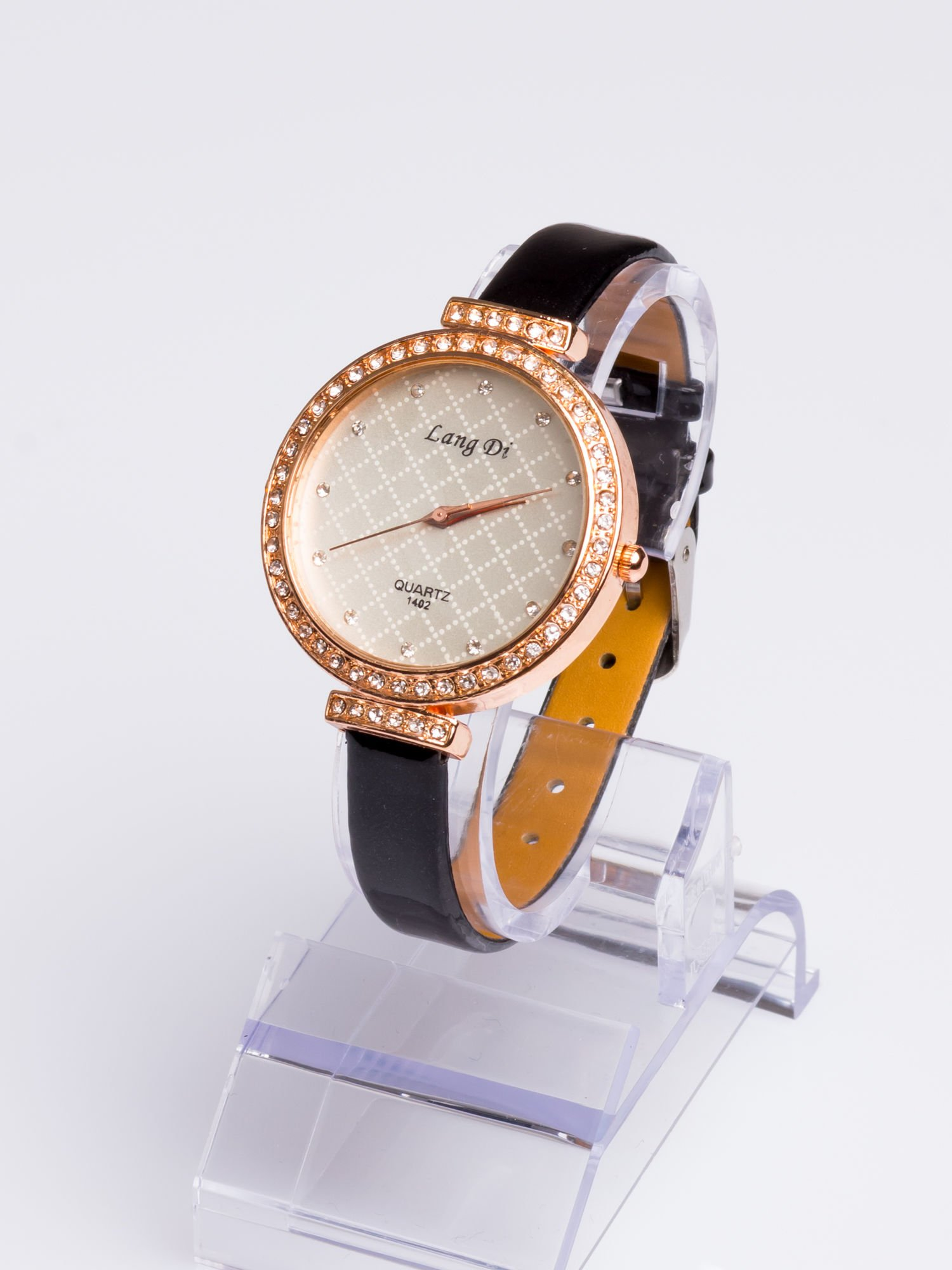 Złoty elegancki i delikatny zegarek damski z cyrkoniami                                  zdj.                                  2