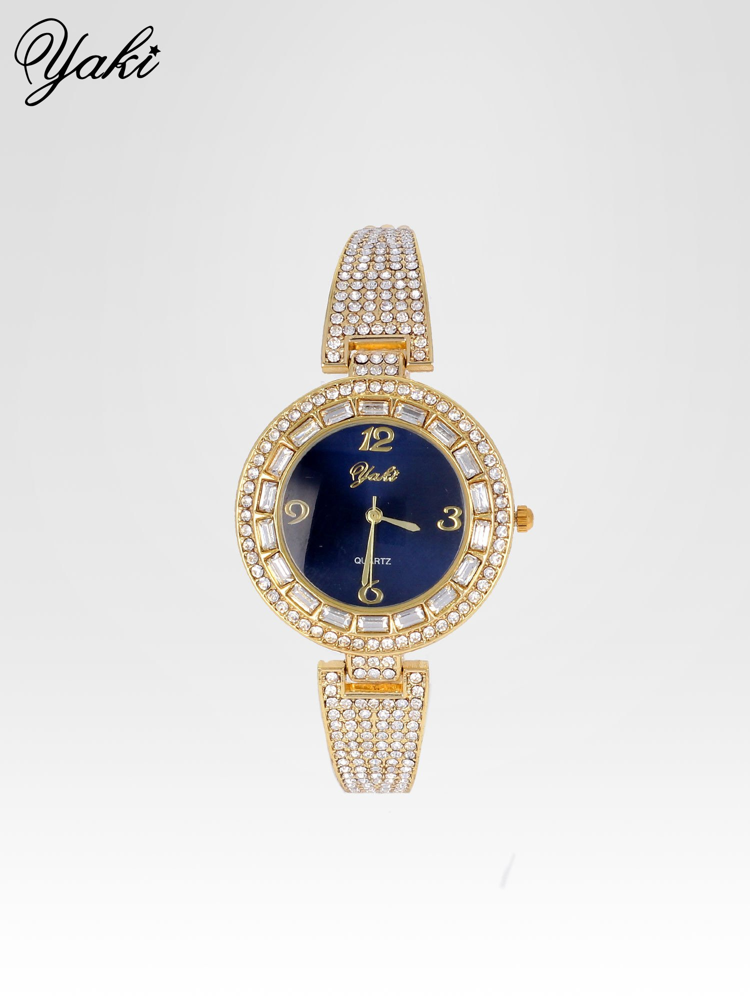 Złoty zegarek biżuteryjny z granatową tarczą i cyrkoniami                                  zdj.                                  1