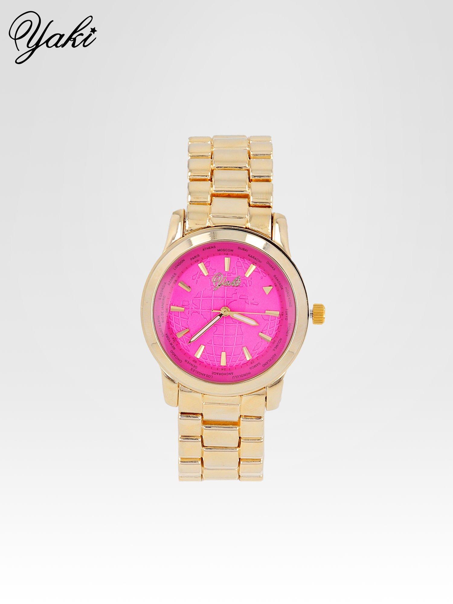 Złoty zegarek damski globtroter z różową tarczą z motywem mapy                                  zdj.                                  1