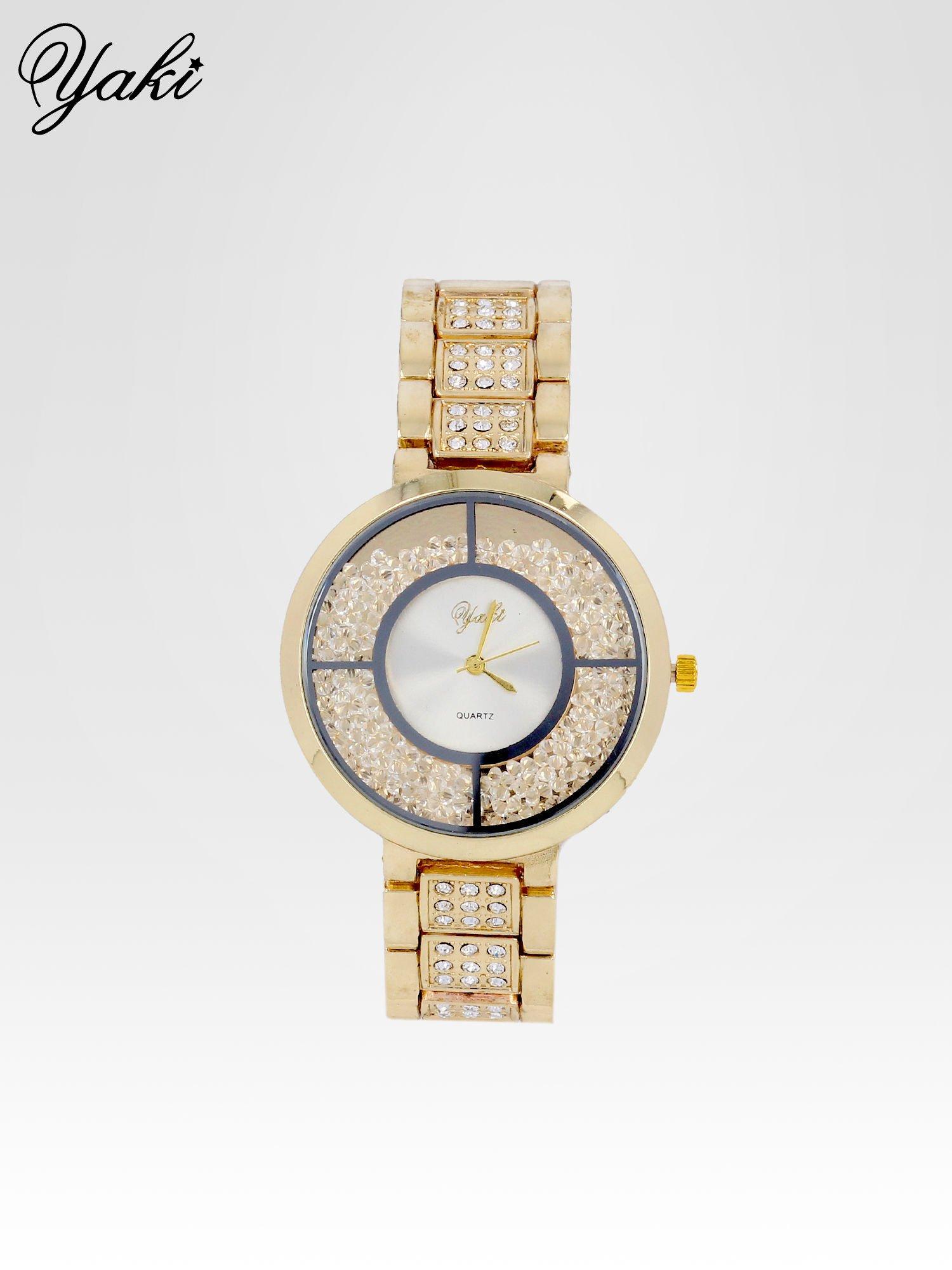Złoty zegarek damski na bransolecie z białą cyrkoniową tarczą                                  zdj.                                  1