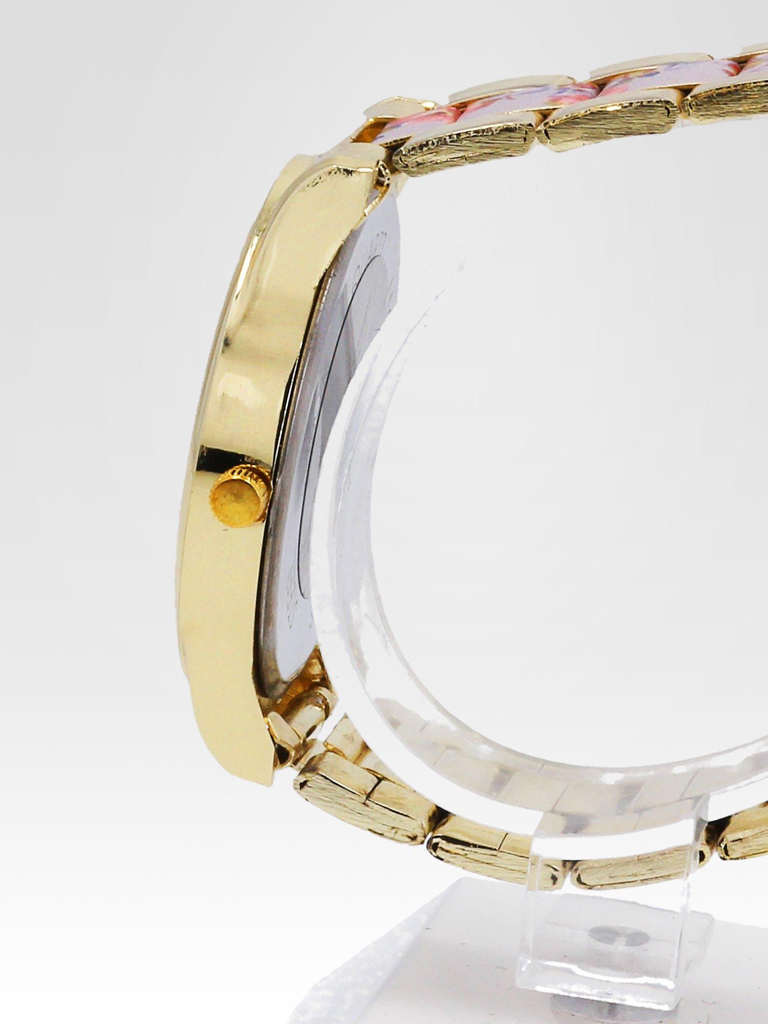 Złoty zegarek damski na bransolecie z jasnoóżowym motywem kwiatowym                                  zdj.                                  3