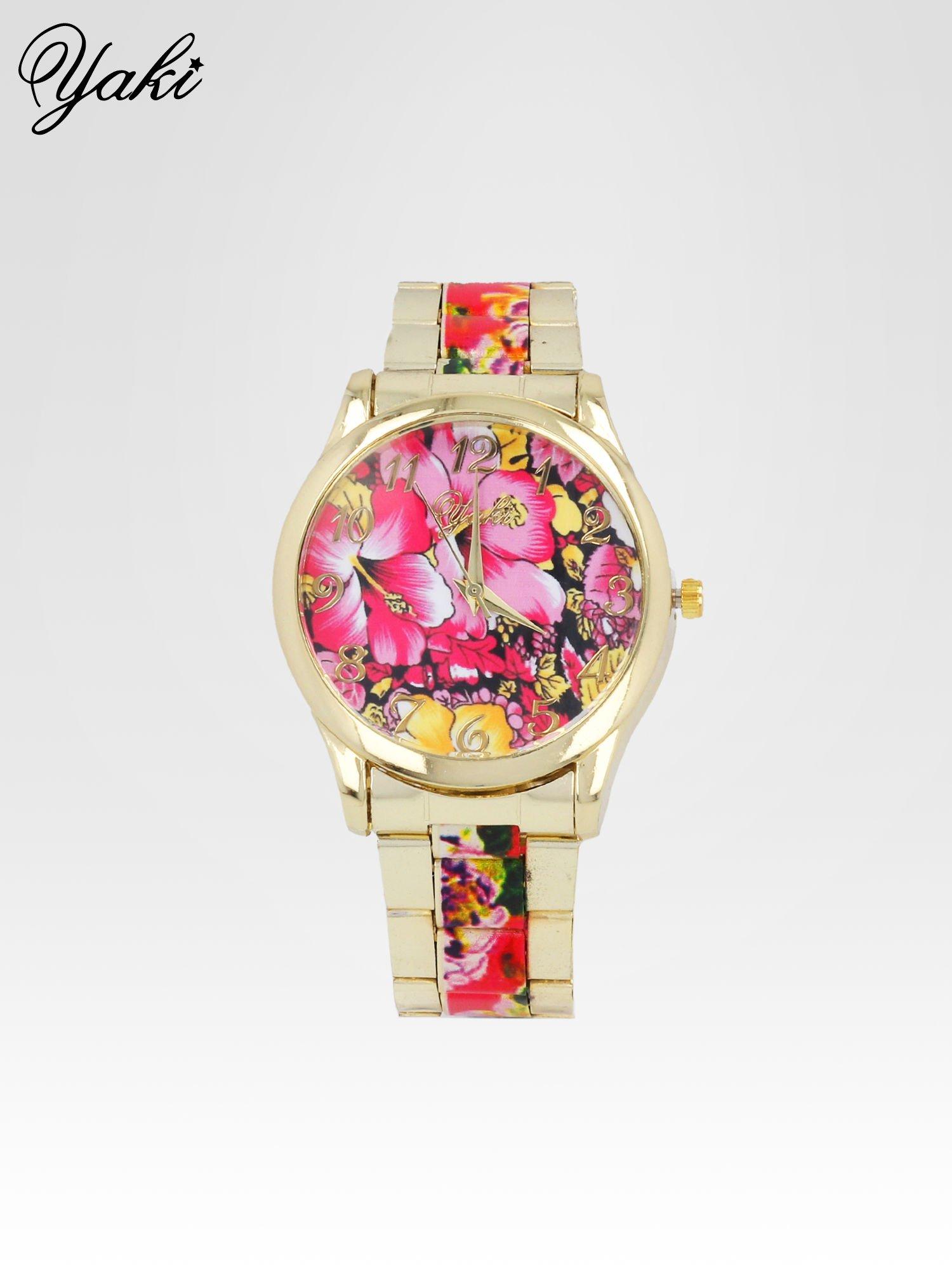 Złoty zegarek damski na bransolecie z różowym motywem kwiatowym                                  zdj.                                  1