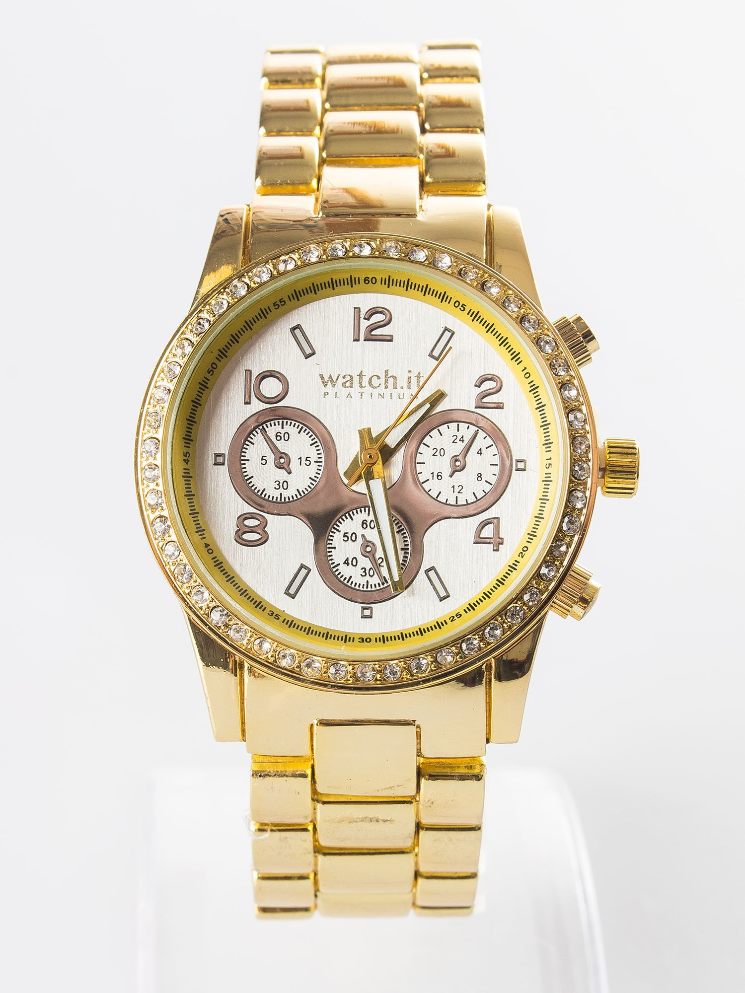 złoty zegarek z branzoletą