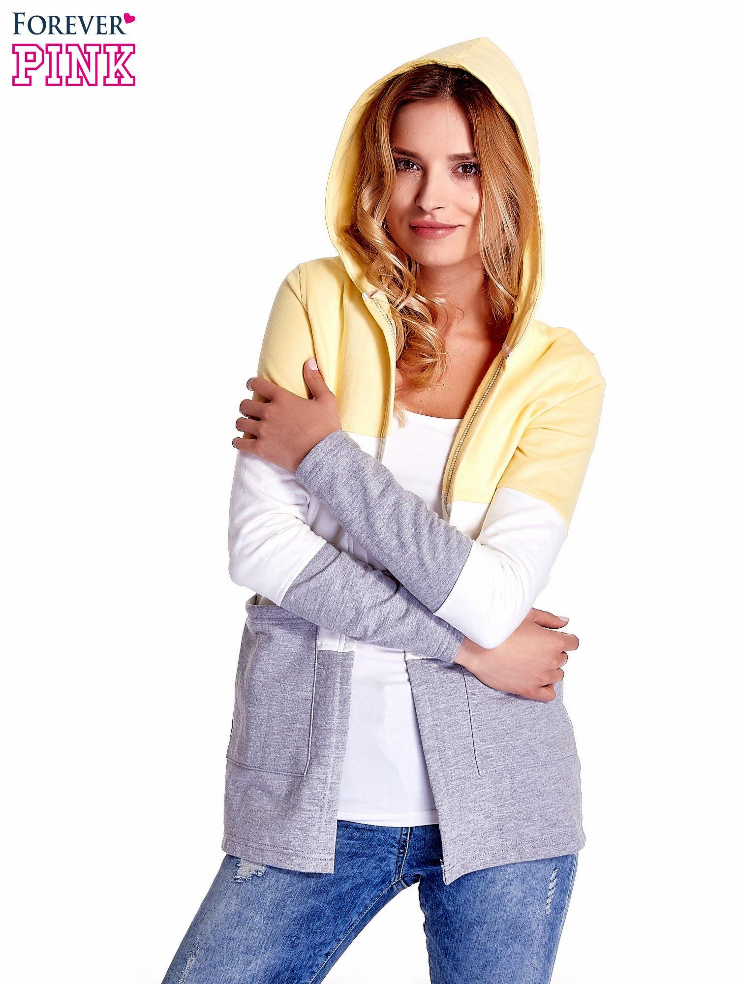 Żółta bluza w szerokie kolorowe pasy                                  zdj.                                  1