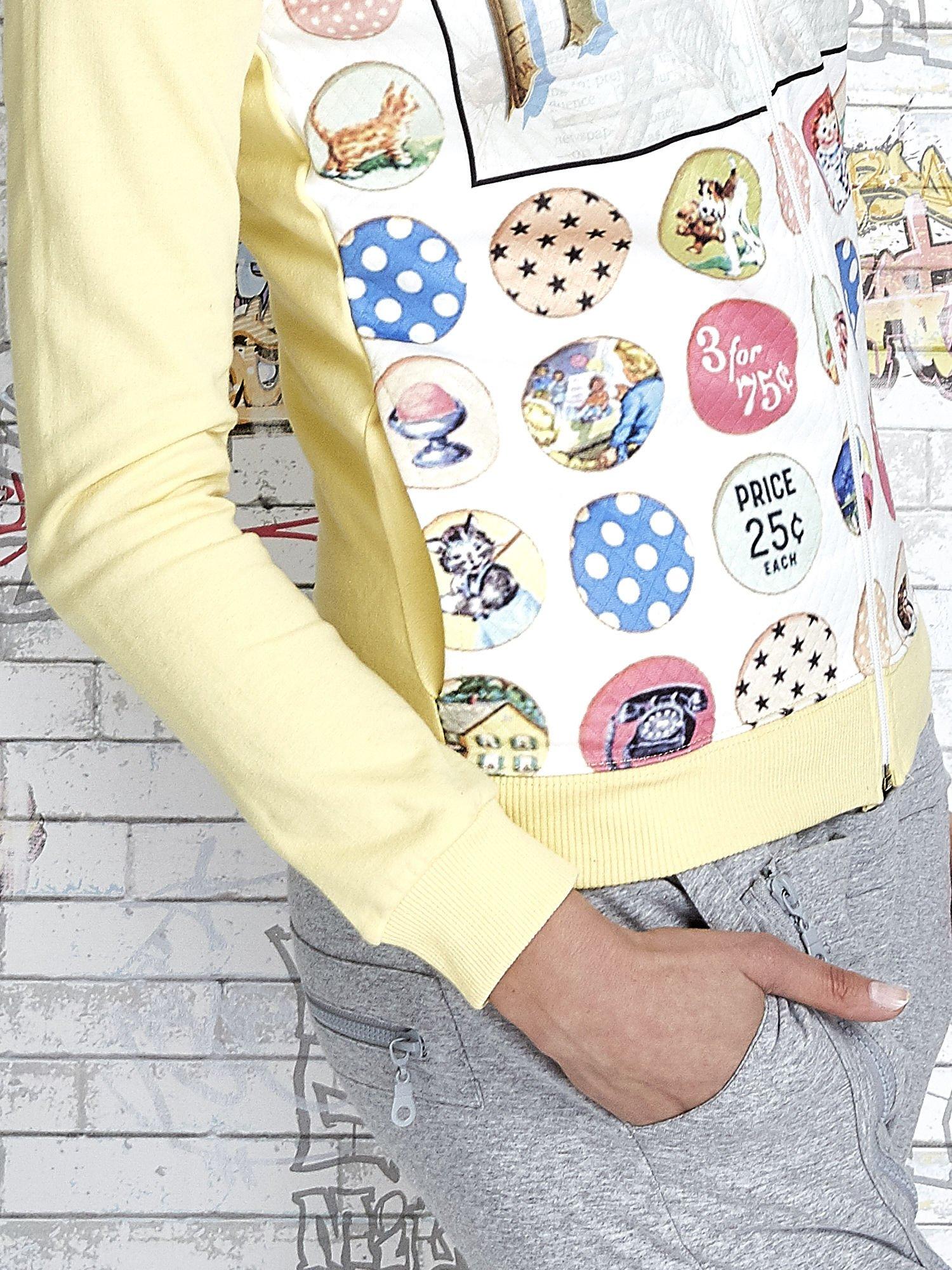 Żółta bluza z kapturem i napisem HONOUR                                  zdj.                                  7