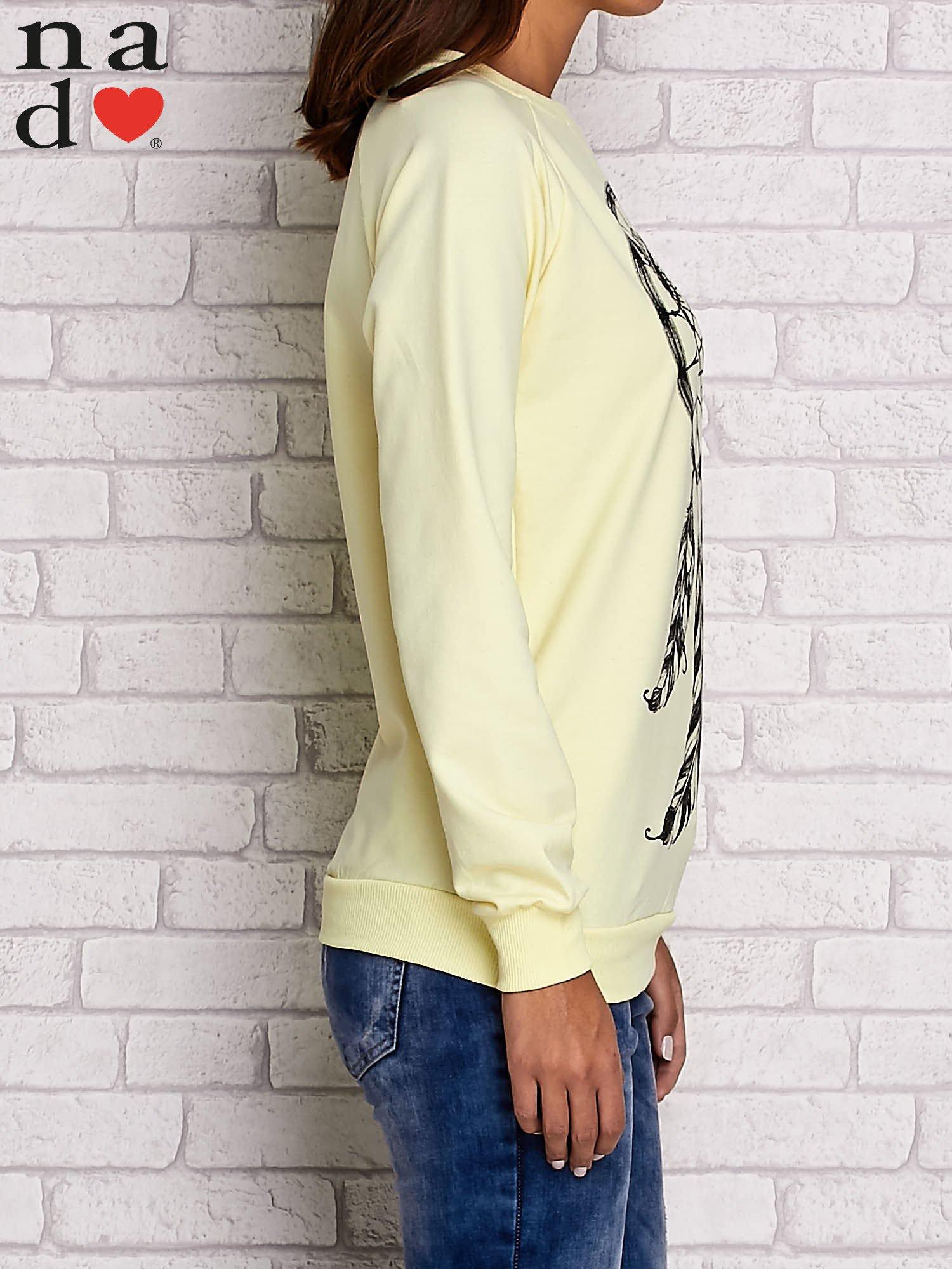 Żółta bluza z motywem sowy i łapacza snów                                  zdj.                                  3