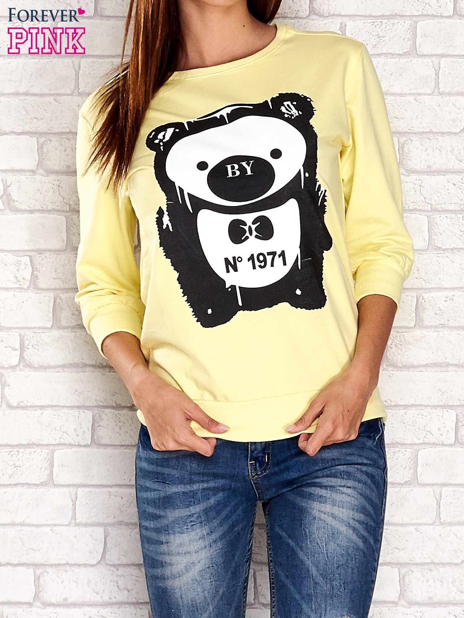 Żółta bluza z nadrukiem pandy                                  zdj.                                  1