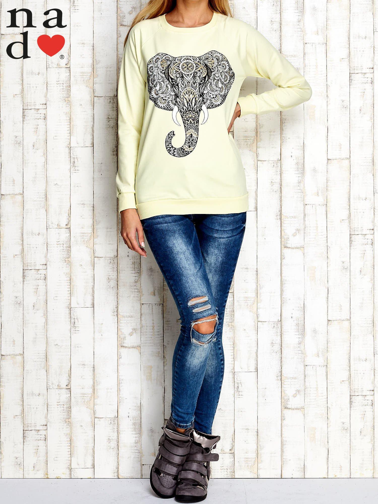 Żółta bluza z nadrukiem słonia                                  zdj.                                  4