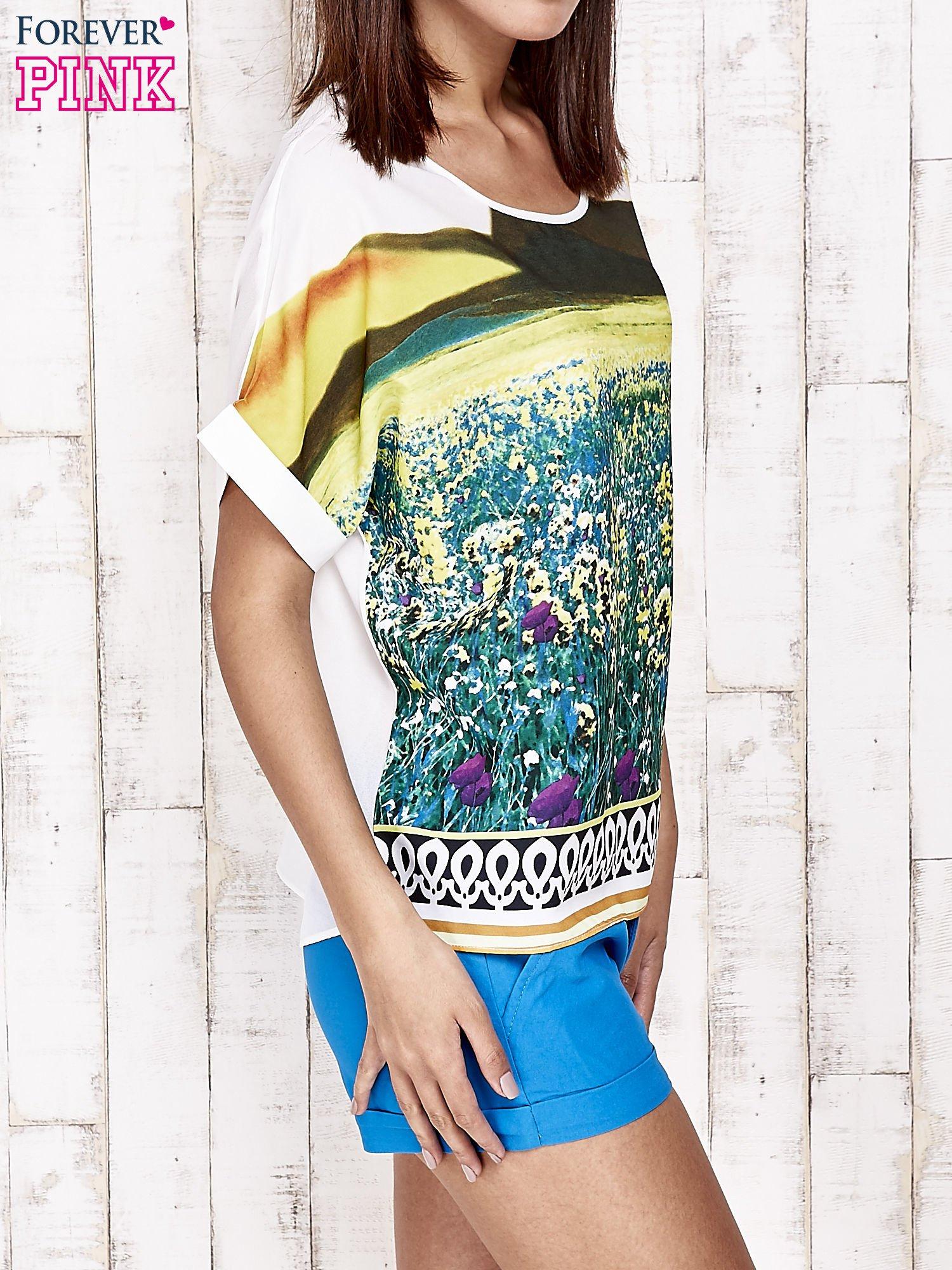 Żółta bluzka koszulowa z nadrukiem łąki                                   zdj.                                  4