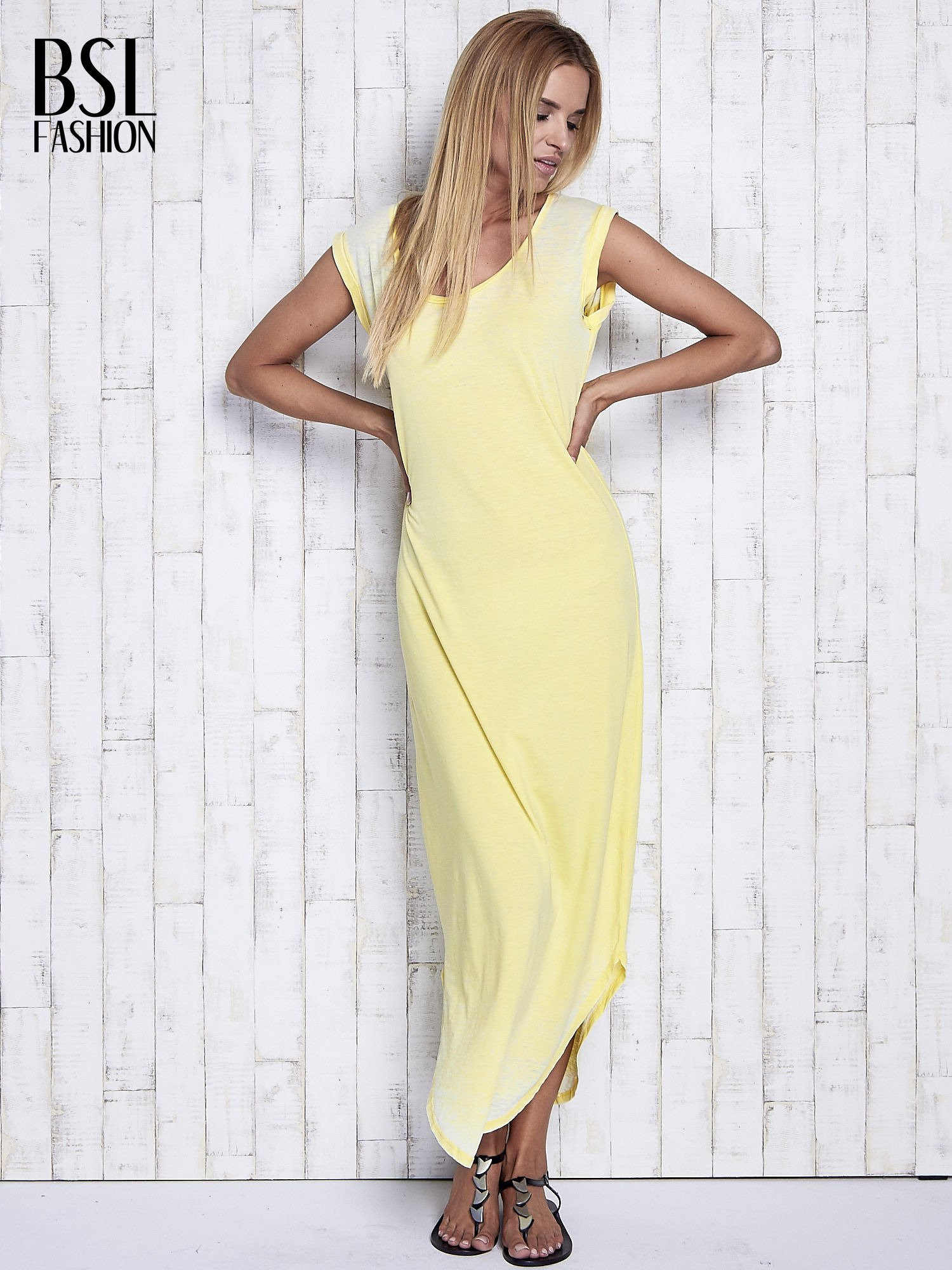 Żółta długa sukienka acid wash                                   zdj.                                  4