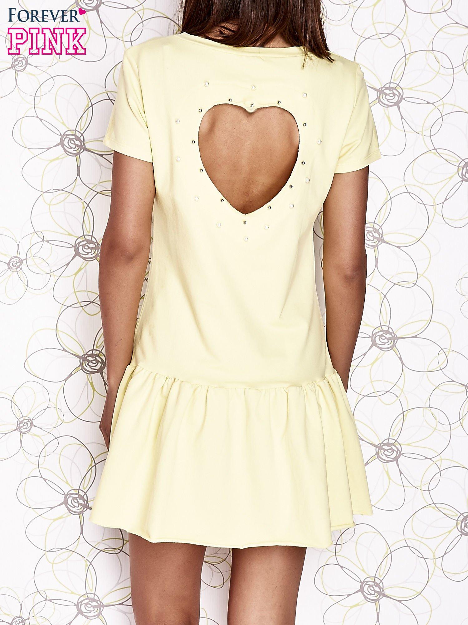 Żółta dresowa sukienka z wycięciem na plecach                                   zdj.                                  2