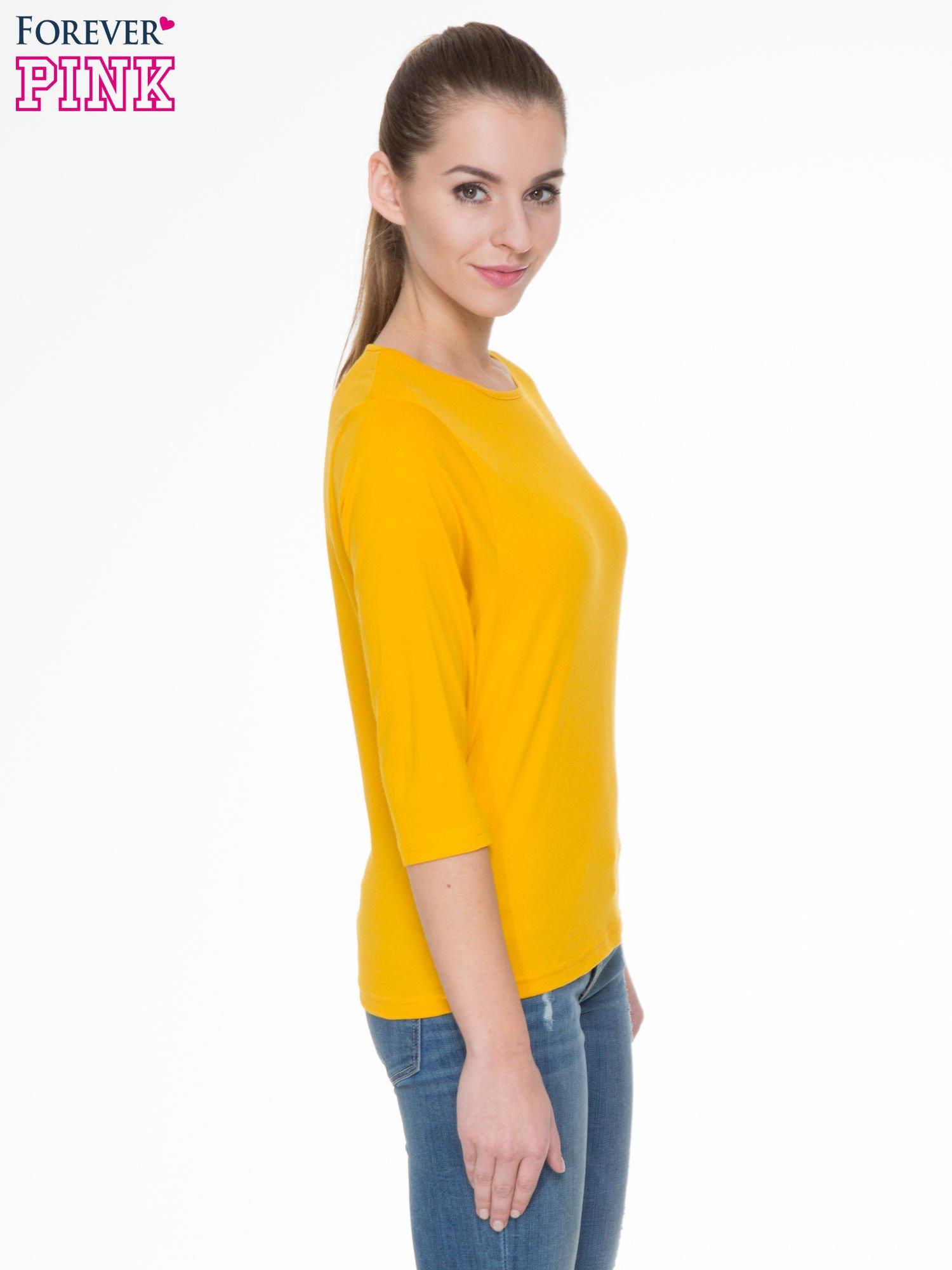 Żółta gładka bluzka z rękawem 3/4                                  zdj.                                  3
