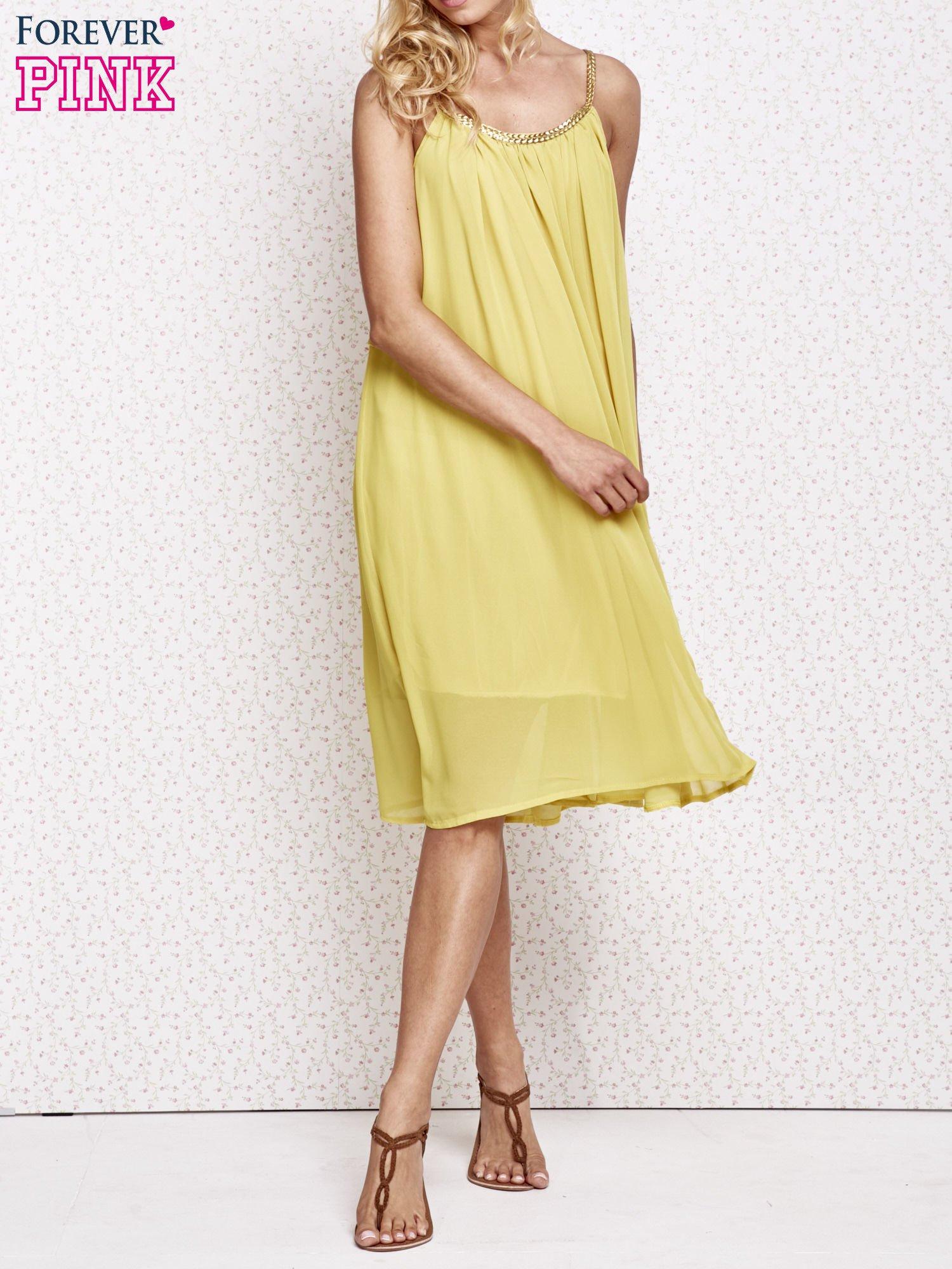 Żółta grecka sukienka ze złotym paskiem                                  zdj.                                  6