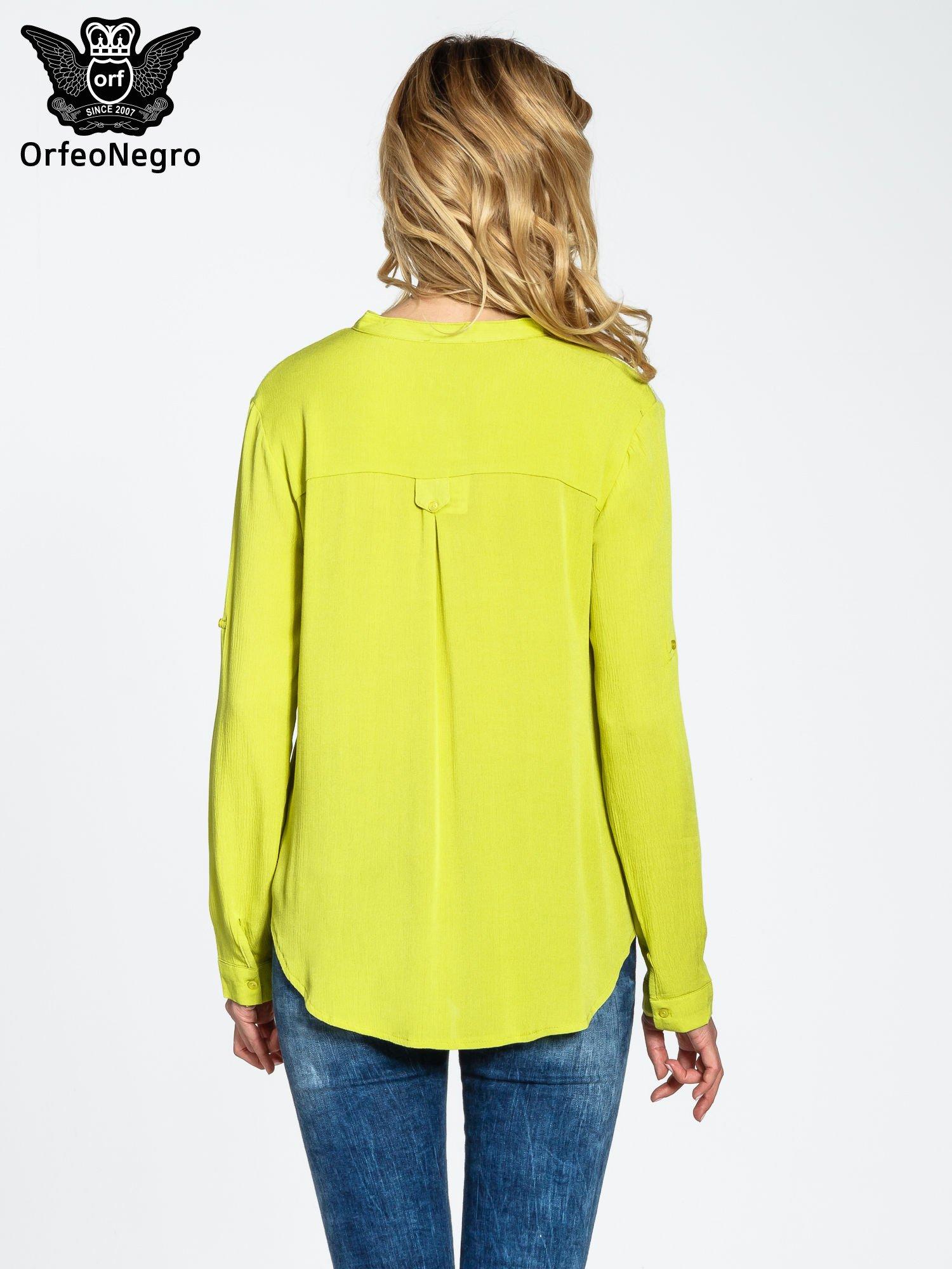 Żółta koszula damska z haftem na ramionach                                  zdj.                                  4