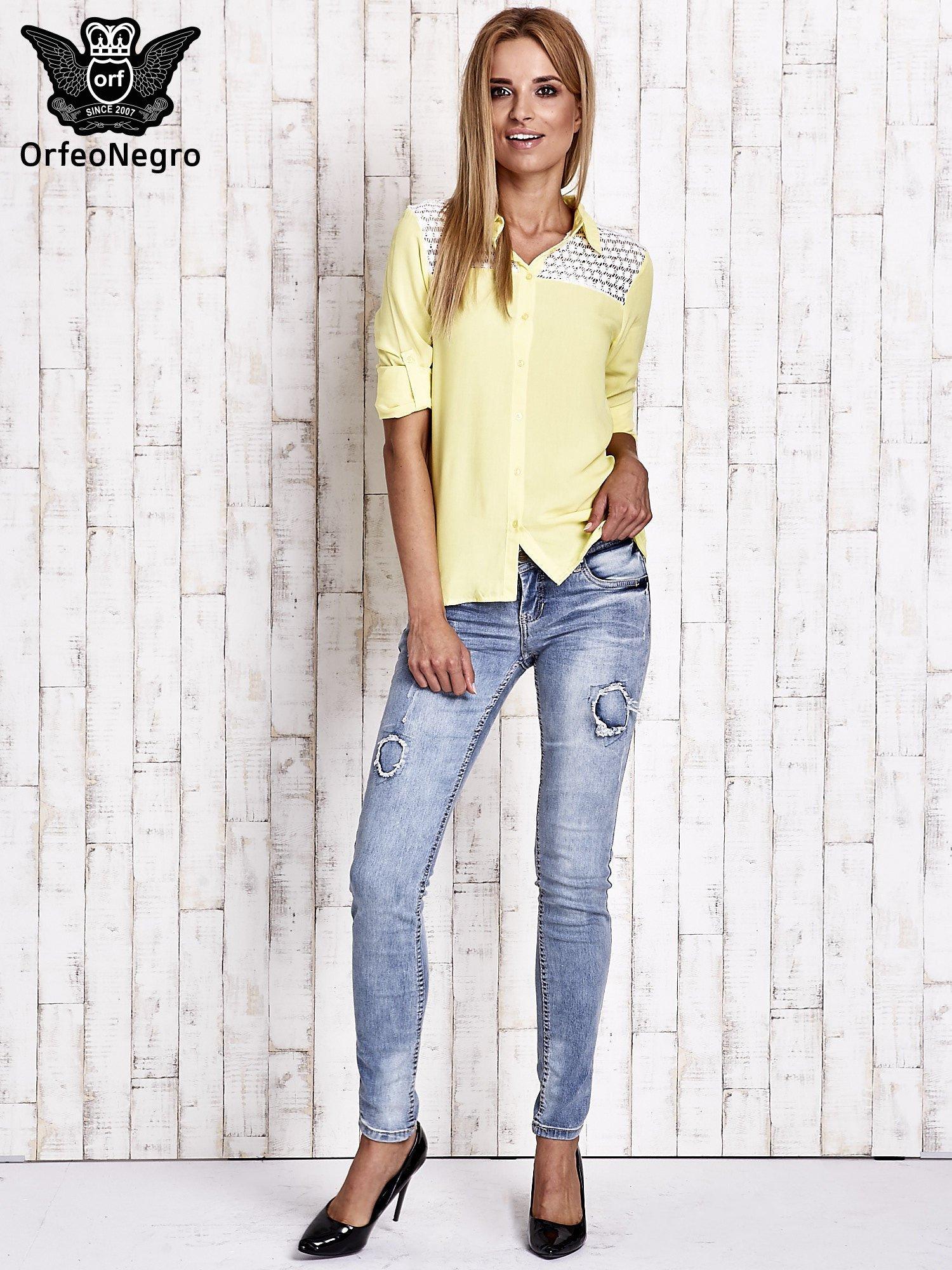 Żółta koszula damska z koronkową górą                                  zdj.                                  4