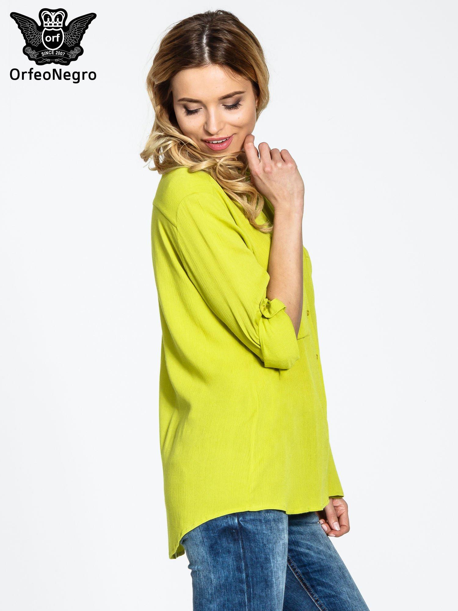 Żółta koszula z biżuteryjnym kołnierzykiem i kieszonkami                                  zdj.                                  5