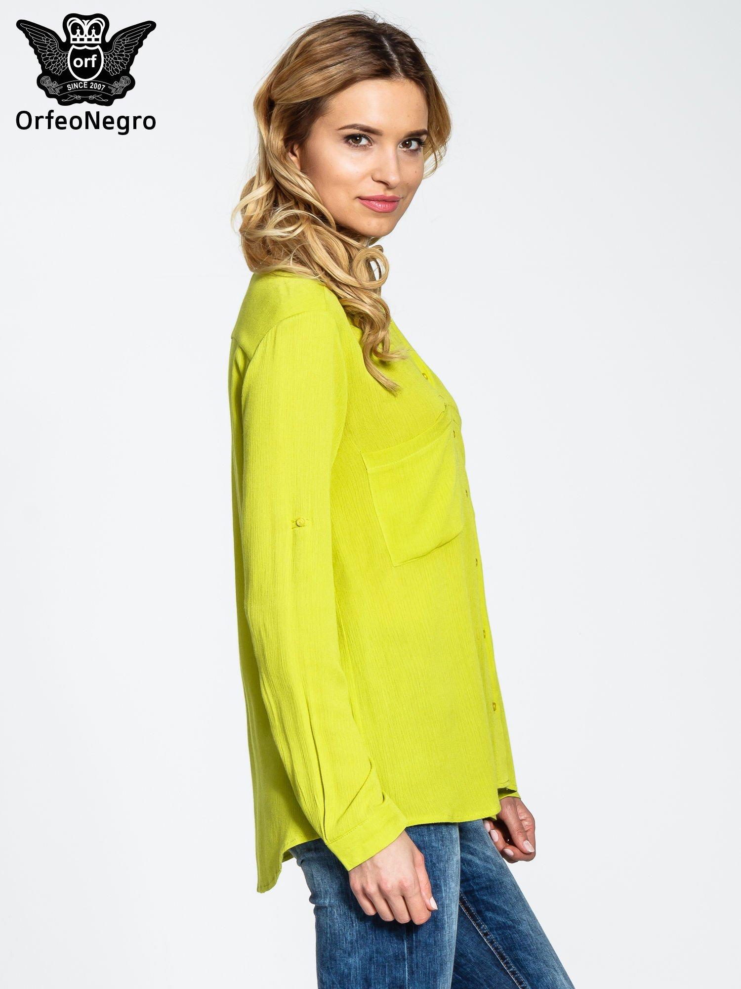 Żółta koszula z biżuteryjnym kołnierzykiem i kieszonkami                                  zdj.                                  3