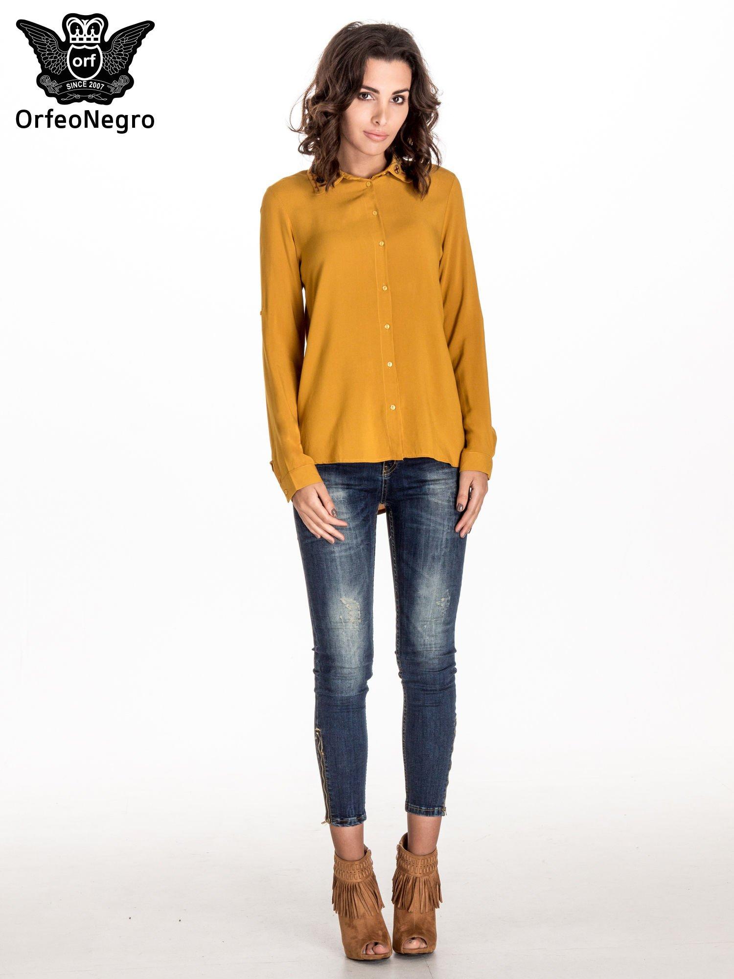 Żółta koszula z haftowanym kołnierzykiem                                  zdj.                                  4