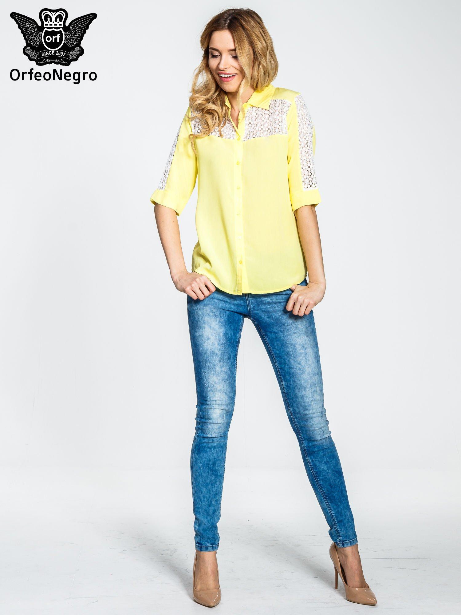 Żółta koszula z rękawem do łokcia i koronką                                  zdj.                                  2