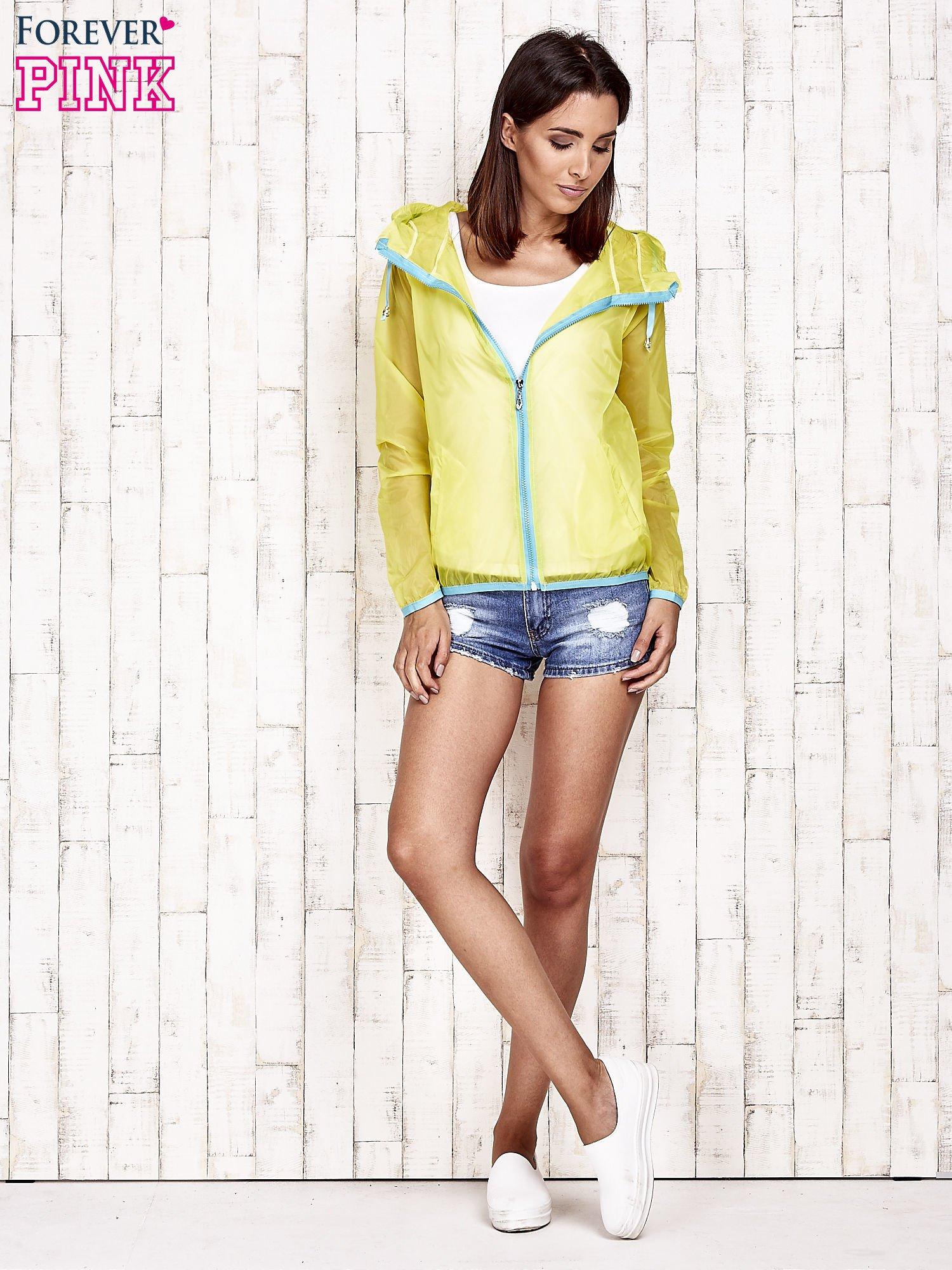 Żółta kurtka wiatrówka z niebieskim suwakiem                                  zdj.                                  6