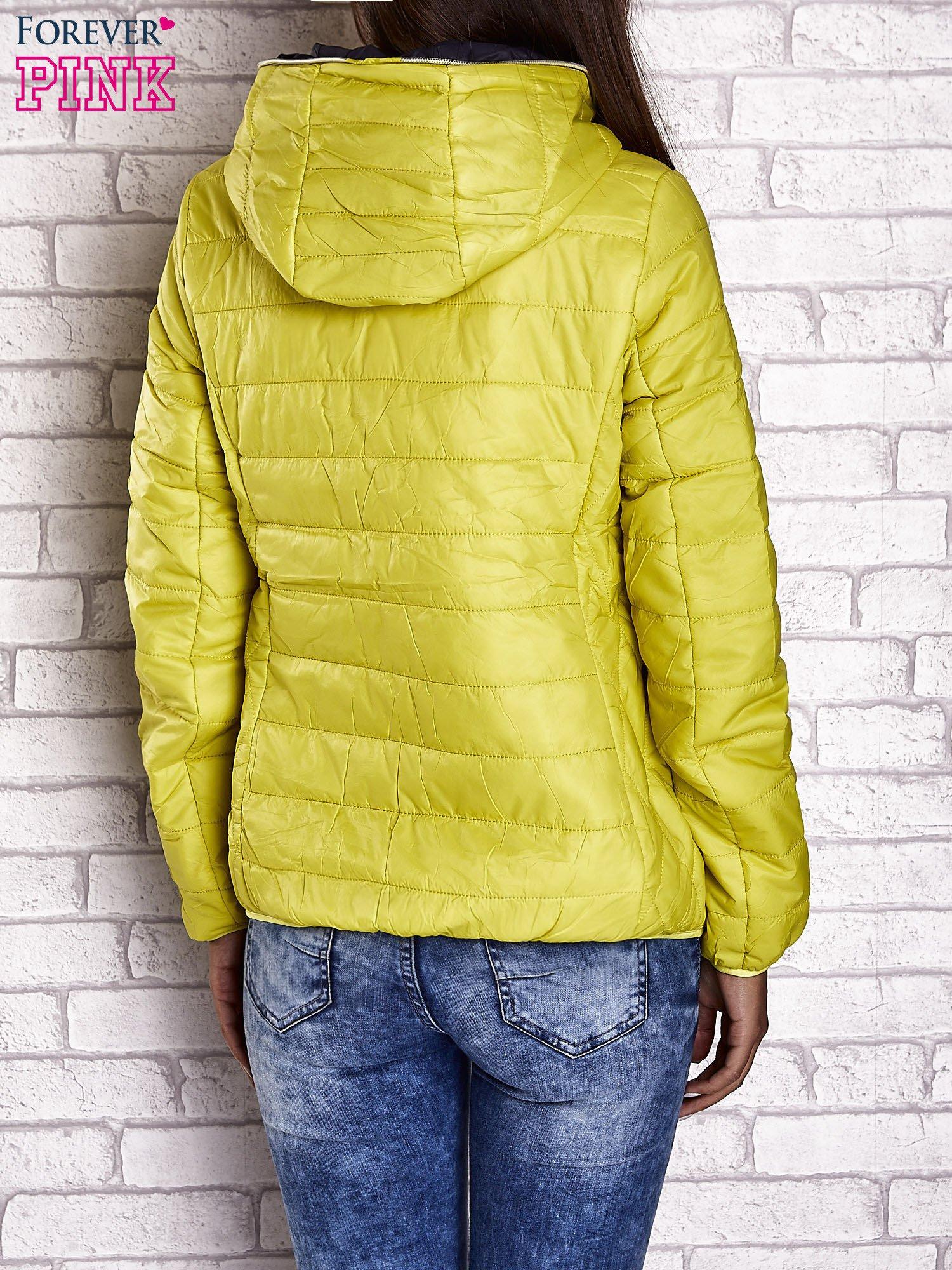 Żółta ocieplana kurtka z kontrastowym wykończeniem kaptura                                  zdj.                                  2