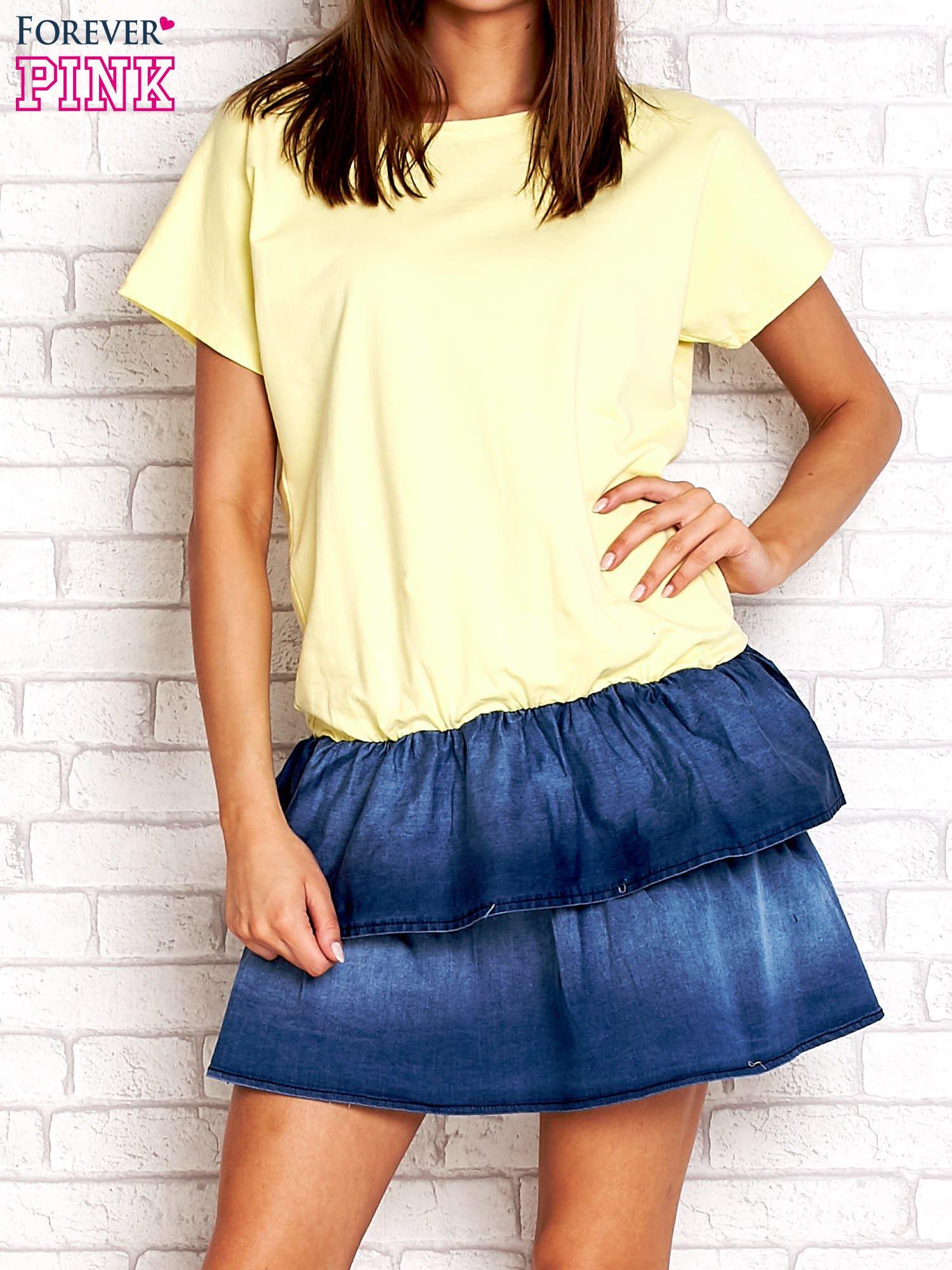 Żółta sukienka dresowa z jeansowym dołem                                  zdj.                                  1