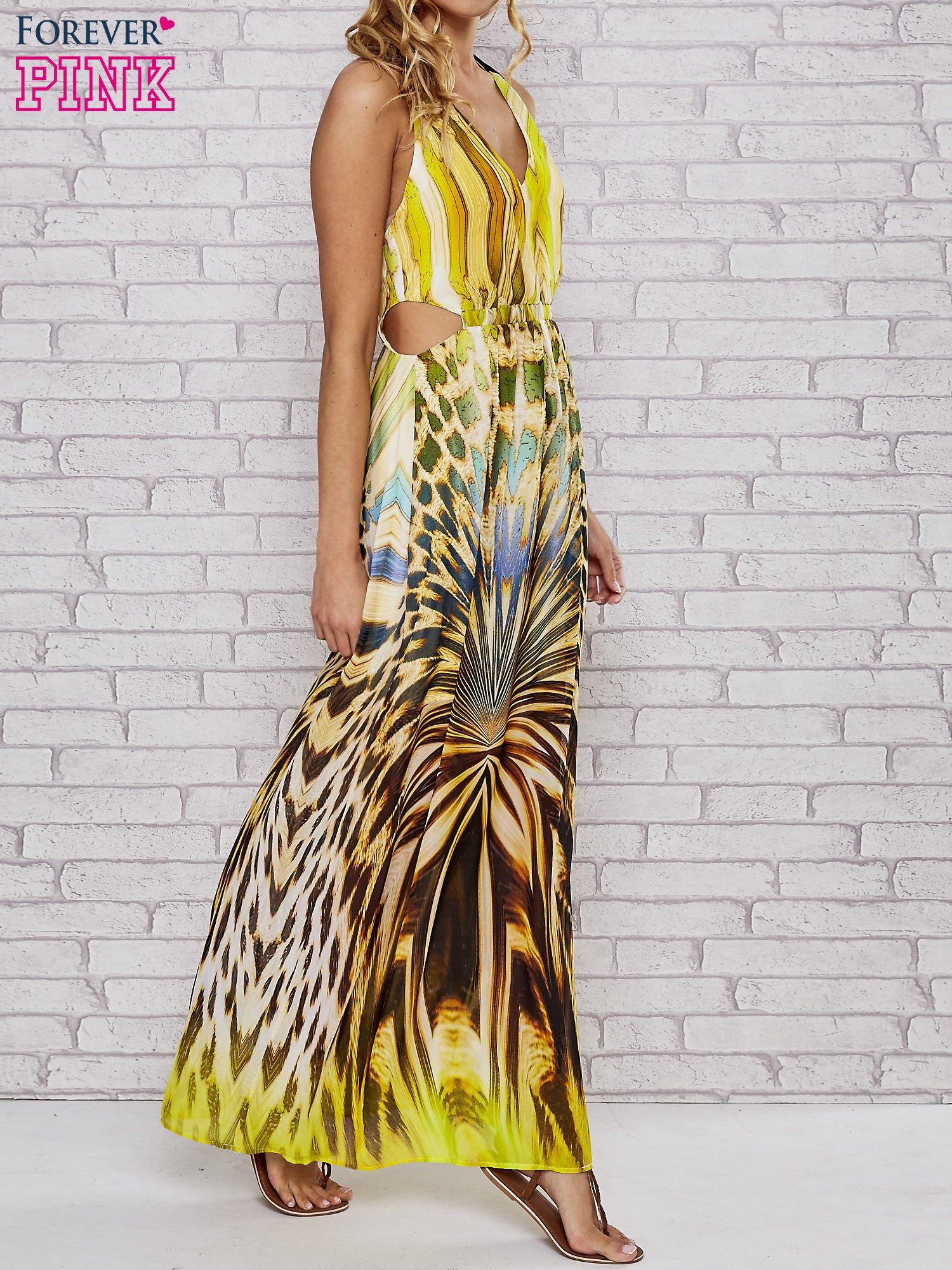 Żółta sukienka maxi z odkrytymi plecami                                  zdj.                                  3