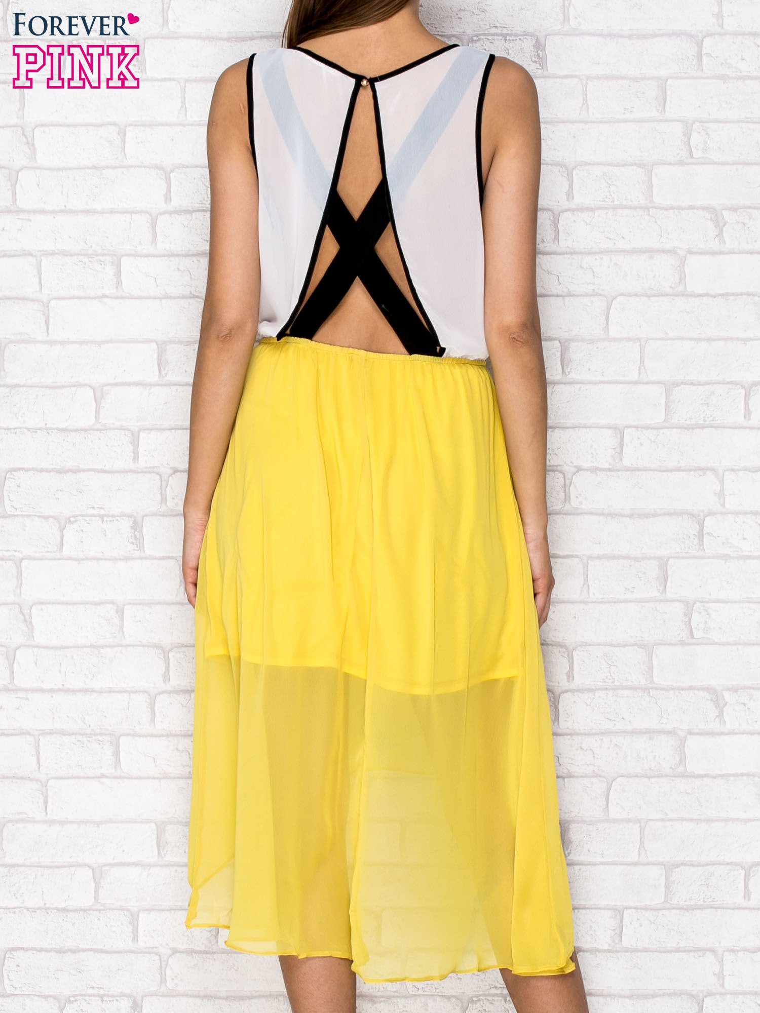 Żółta tiulowa sukienka z krzyżowanymi plecami                                  zdj.                                  2
