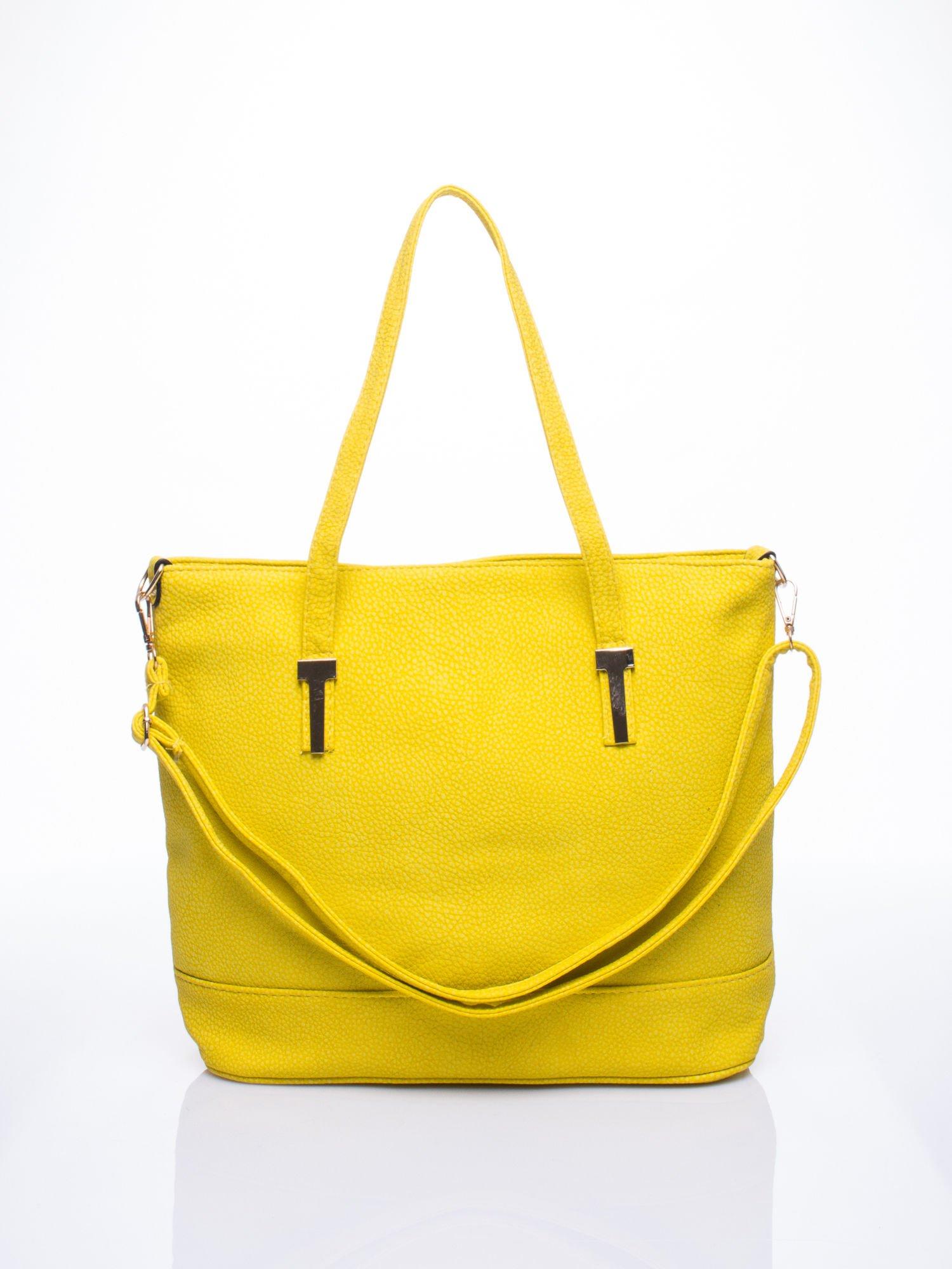 Żółta torba shopperka z odczepianym paskiem                                   zdj.                                  1