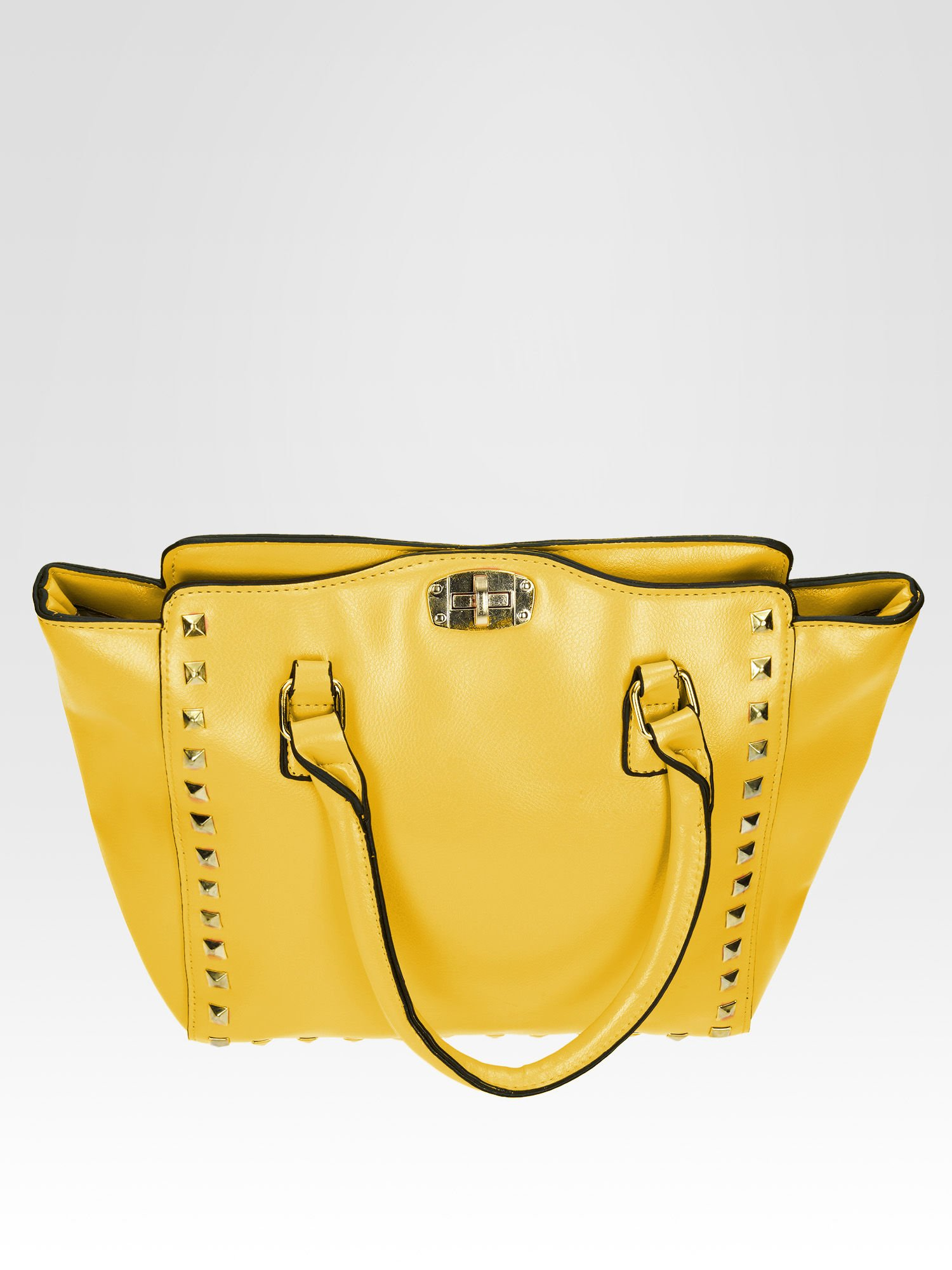 Żółta torebka na ramię z dżetami                                  zdj.                                  8