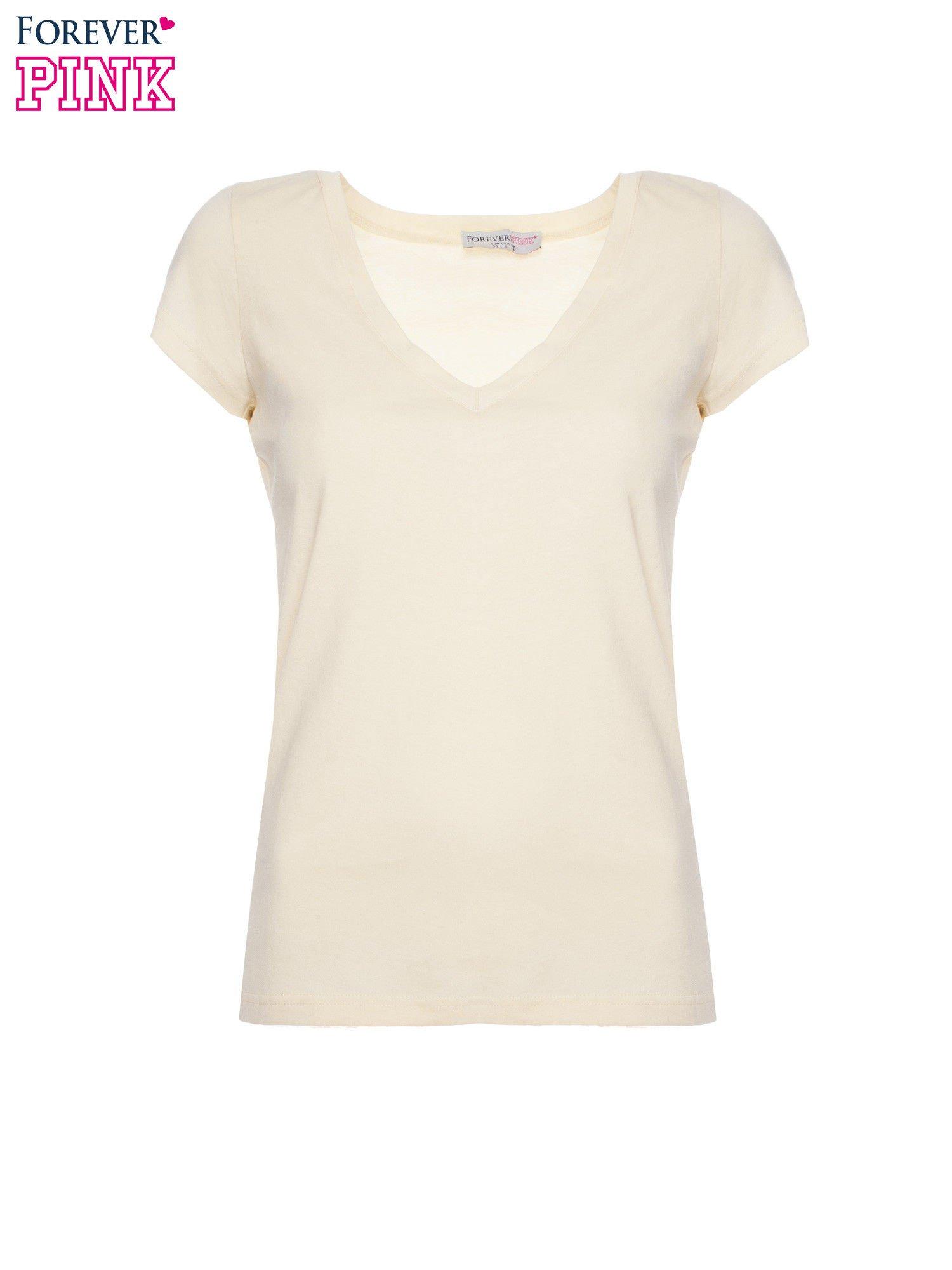 Żółty basicowy t-shirt z dekoltem w serek                                  zdj.                                  2