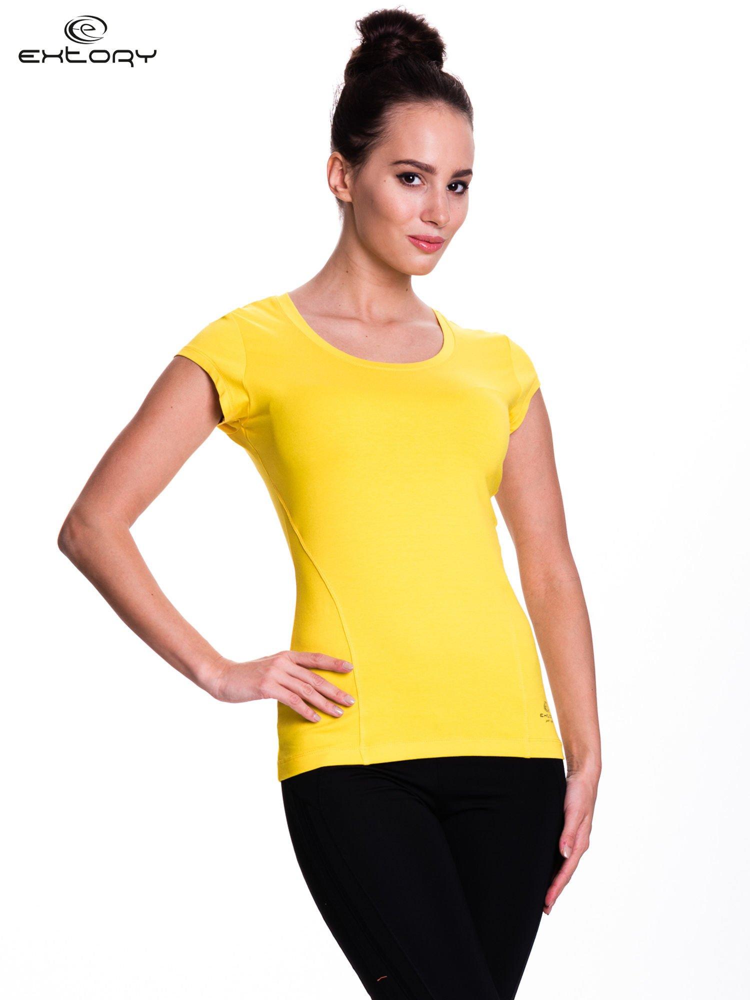 Żółty damski t-shirt sportowy basic                                  zdj.                                  1