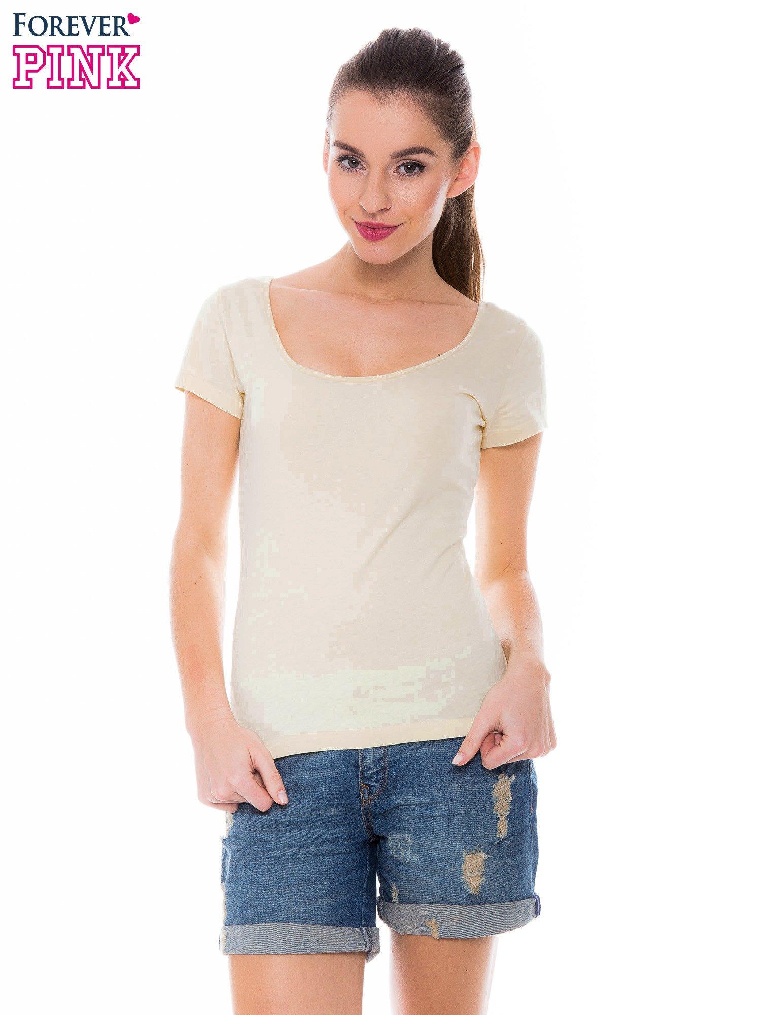 Żółty gładki t-shirt z marszczeniem z tyłu                                  zdj.                                  1
