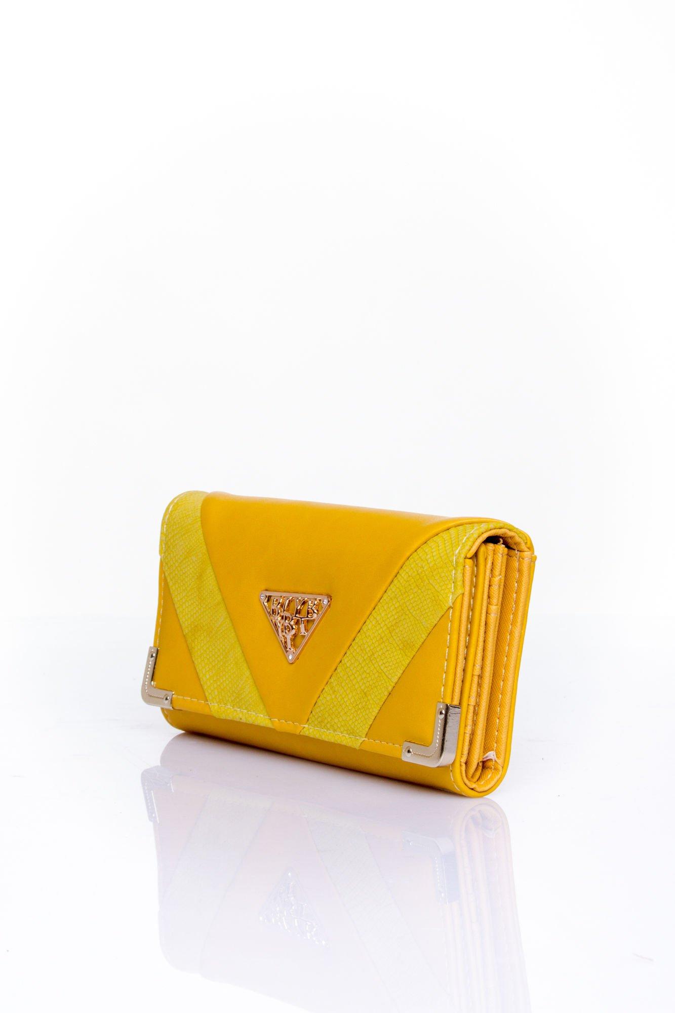 Żółty portfel z ozdobnym detalem i złotymi okuciami                                  zdj.                                  3