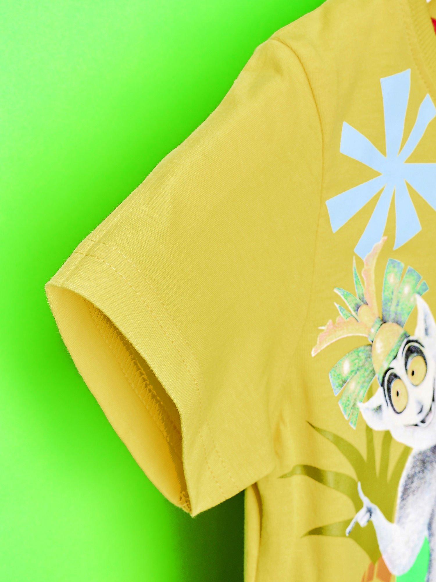 Żółty t-shirt chłopięcy KRÓL JULIAN                                  zdj.                                  6