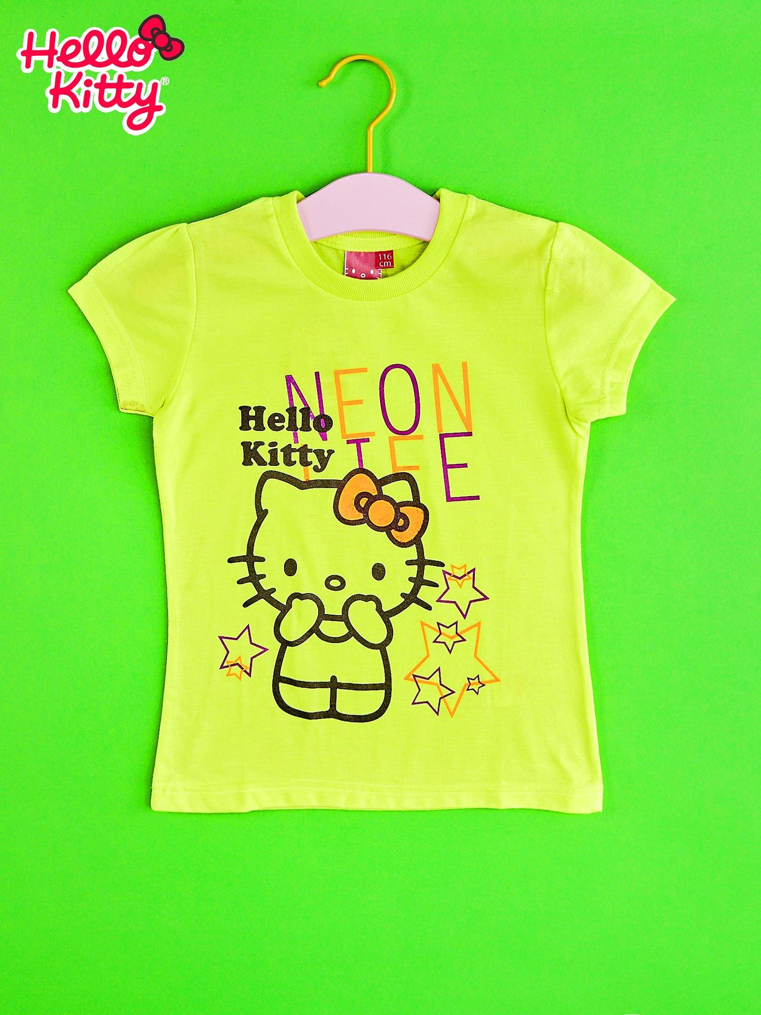 Żółty t-shirt dla dziewczynki HELLO KITTY z gwiadkami                                  zdj.                                  1