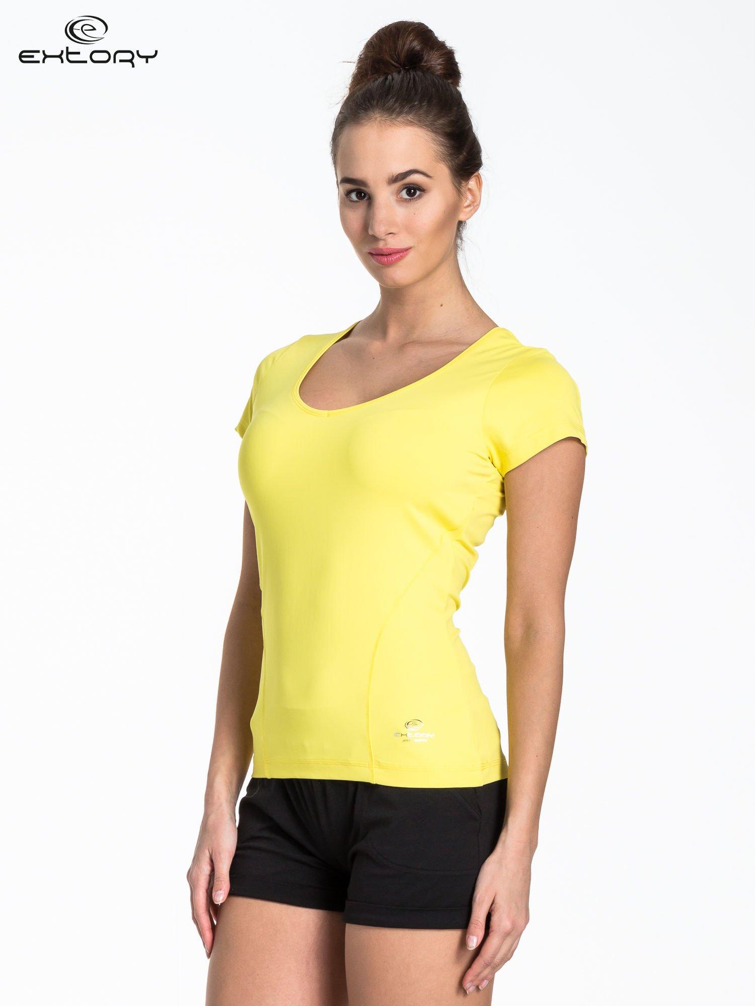 Żółty t-shirt sportowy basic                                  zdj.                                  3
