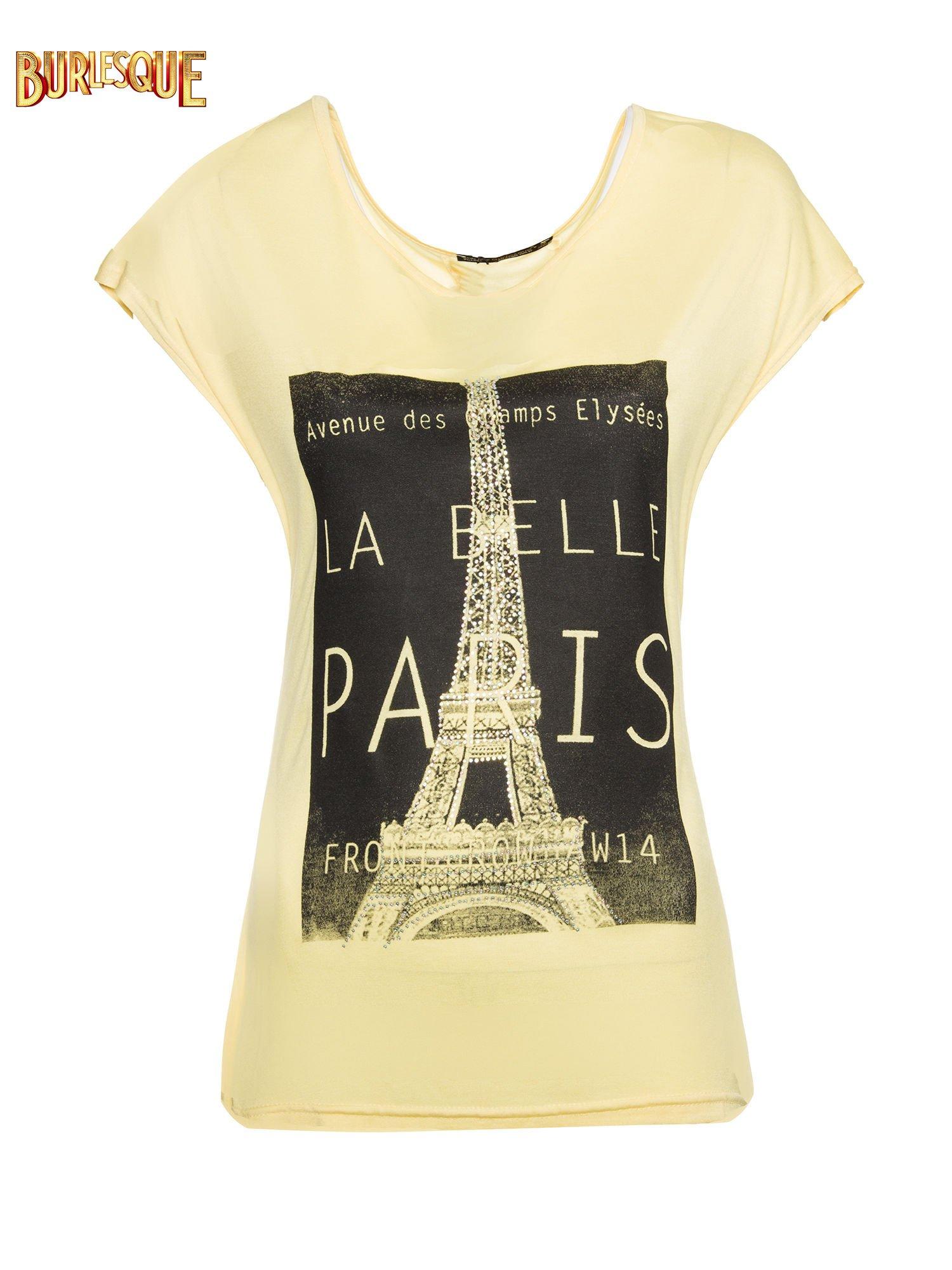 Żółty t-shirt z motywem Paryża                                  zdj.                                  1