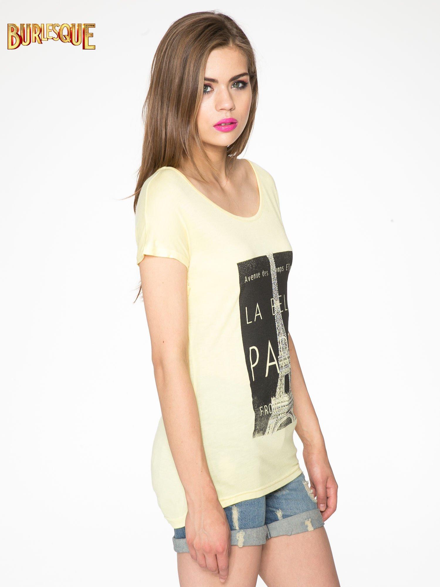 Żółty t-shirt z motywem Paryża                                  zdj.                                  3