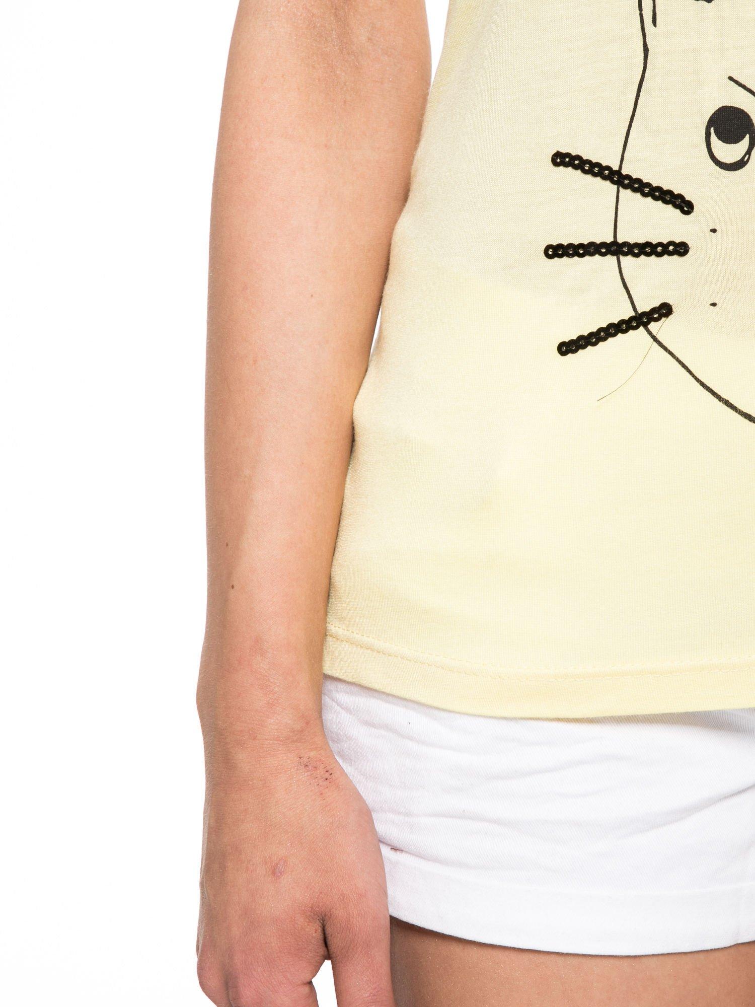 Żółty t-shirt z nadrukiem kota i myszy                                  zdj.                                  6