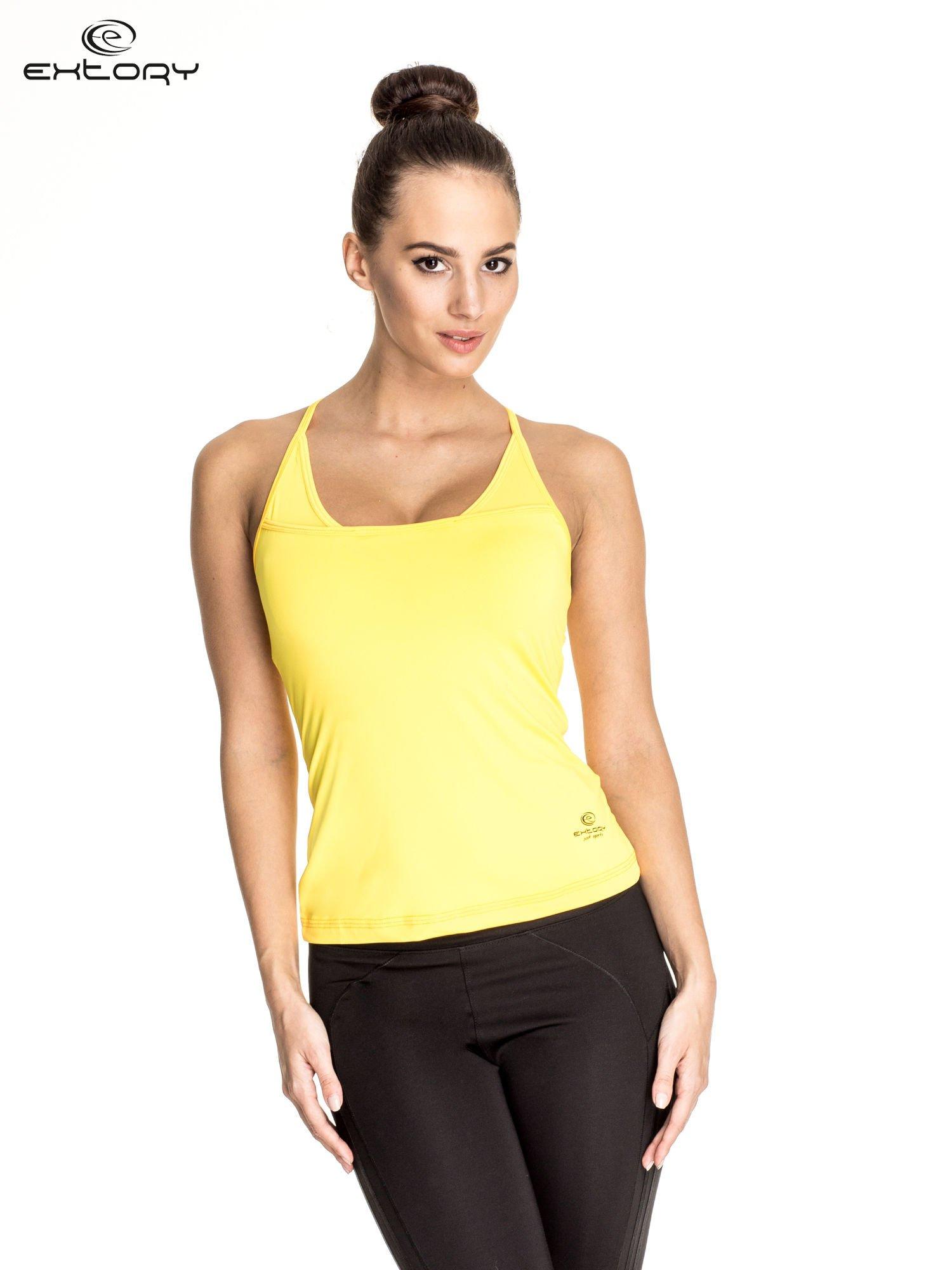Żółty  top sportowy z siateczką i ramiączkami w kształcie litery T na plecach                                  zdj.                                  1