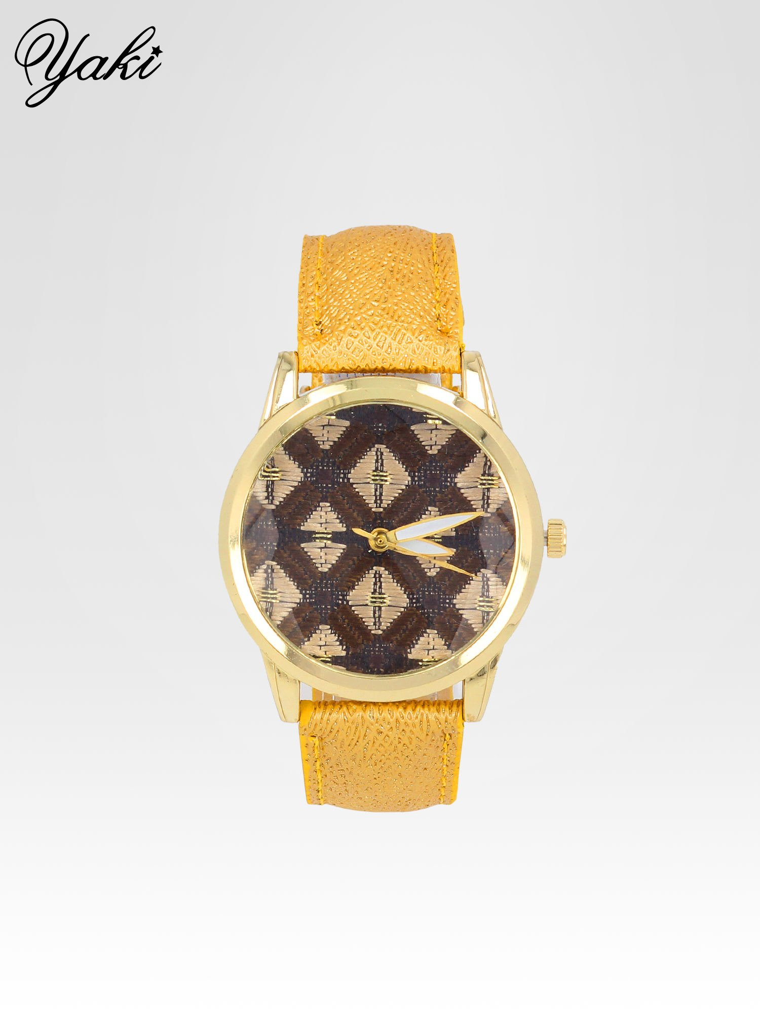 Żółty zegarek damski ze złotą kopertą i etno tarczą                                  zdj.                                  1