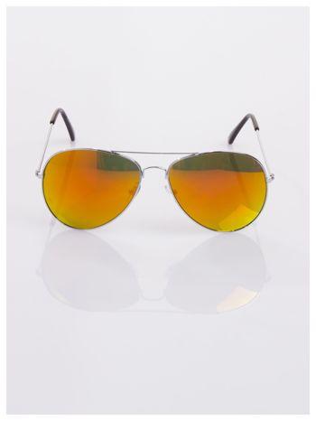 AVIATORY srebrne okulary pilotki lustrzanki czerwono/pomarańczowe                                  zdj.                                  2