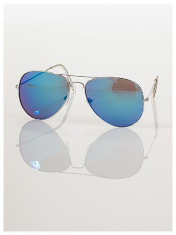 AVIATORY srebrne okulary pilotki lustrzanki niebieskie                                  zdj.                                  2