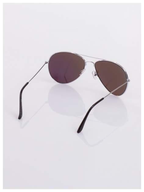 AVIATORY srebrne okulary pilotki lustrzanki niebieskio-zielone                                  zdj.                                  4