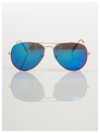 AVIATORY złote okulary pilotki lustrzanki niebieskie                                  zdj.                                  3