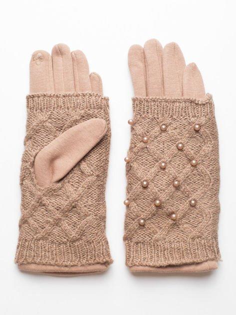 2 w 1 Damskie Beżowe Rękawiczki Dotykowe i Mitenki z perełkami