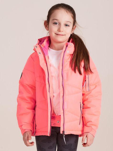 4F Neonowa koralowa pikowana kurtka narciarska dla dziewczynki                              zdj.                              5