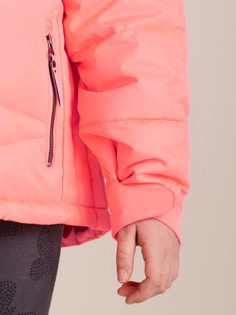 4F Neonowa koralowa pikowana kurtka narciarska dla dziewczynki                              zdj.                              6